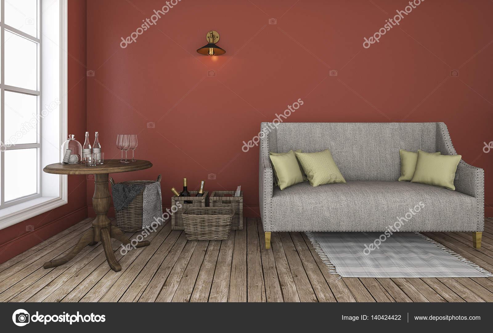3D rendering soggiorno parete rossa con buon arredamento ...
