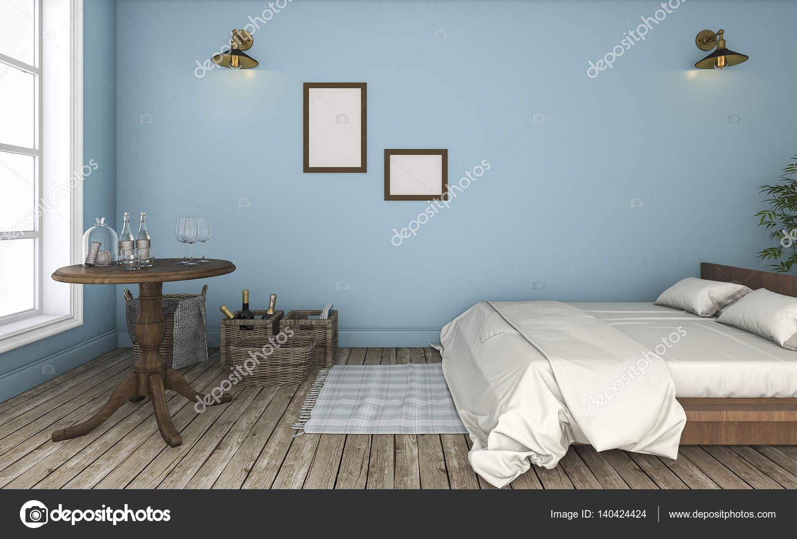 3D rendering schöne blaue Wand Vintage Schlafzimmer — Stockfoto ...
