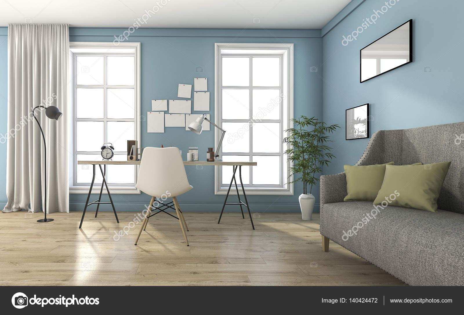 Vintage Woonkamer Meubels : D rendering blauw vintage woonkamer met mooie meubels en