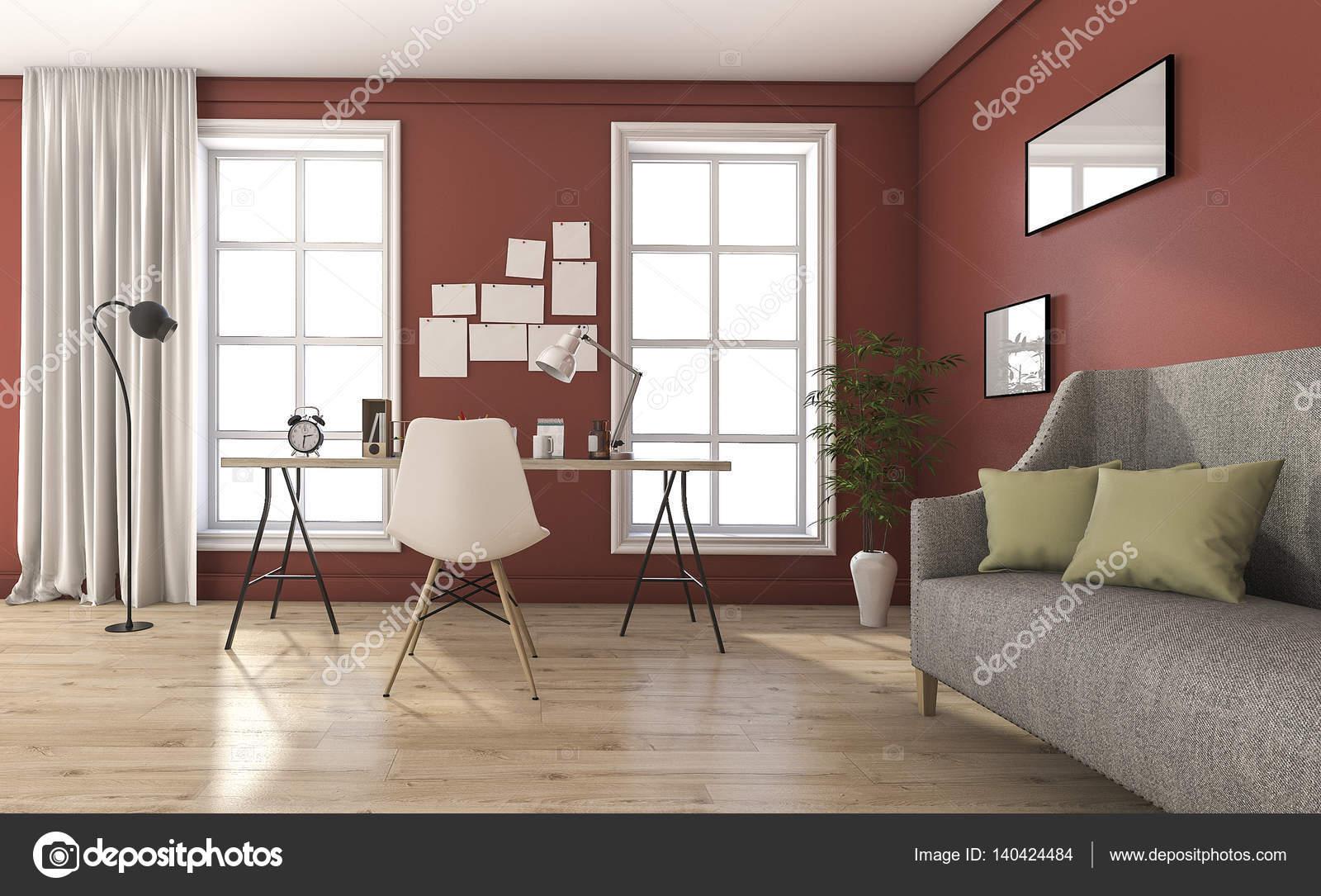 3D Rendering rote Vintage Wohnzimmer mit schönen Möbeln ...