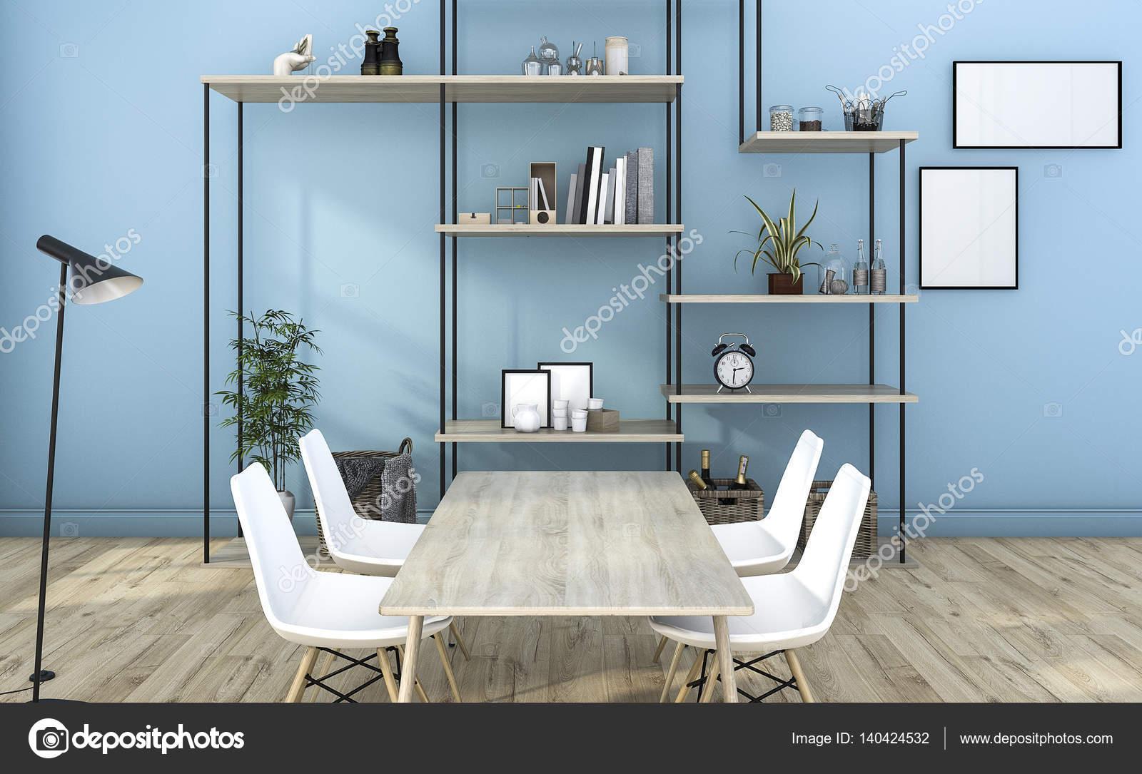 Sala De Estar Azul De Renderiza O 3d Com Decora O De Prateleira  -> Decoracao De Sala Com Prateleiras