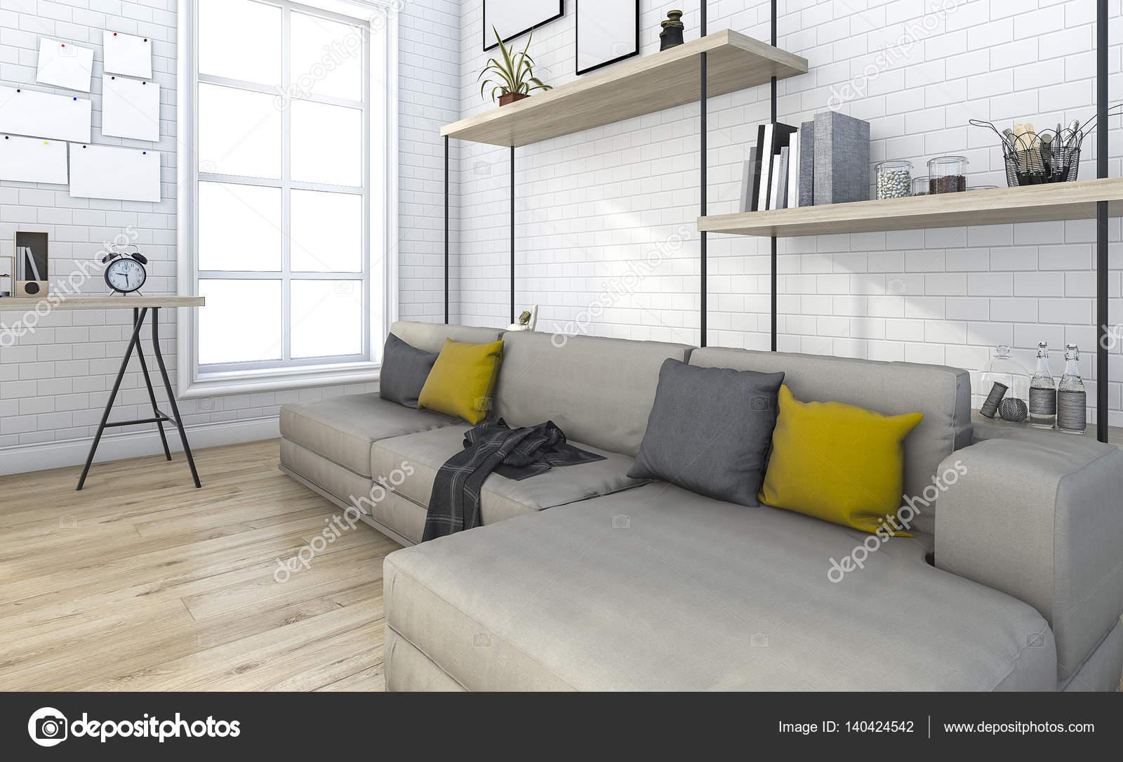 3D rendering mattone soggiorno vintage con decorazione — Foto Stock ...