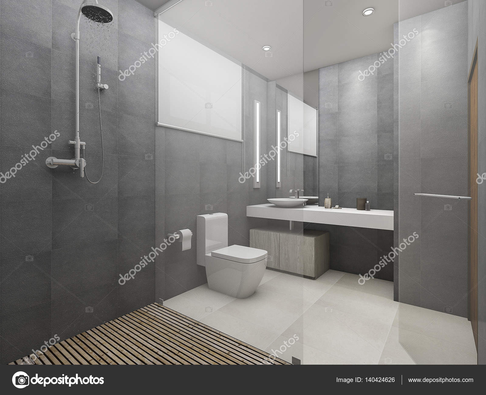 Toilette Modern 3d rendering moderne loft toilette und dusche mit holzboden