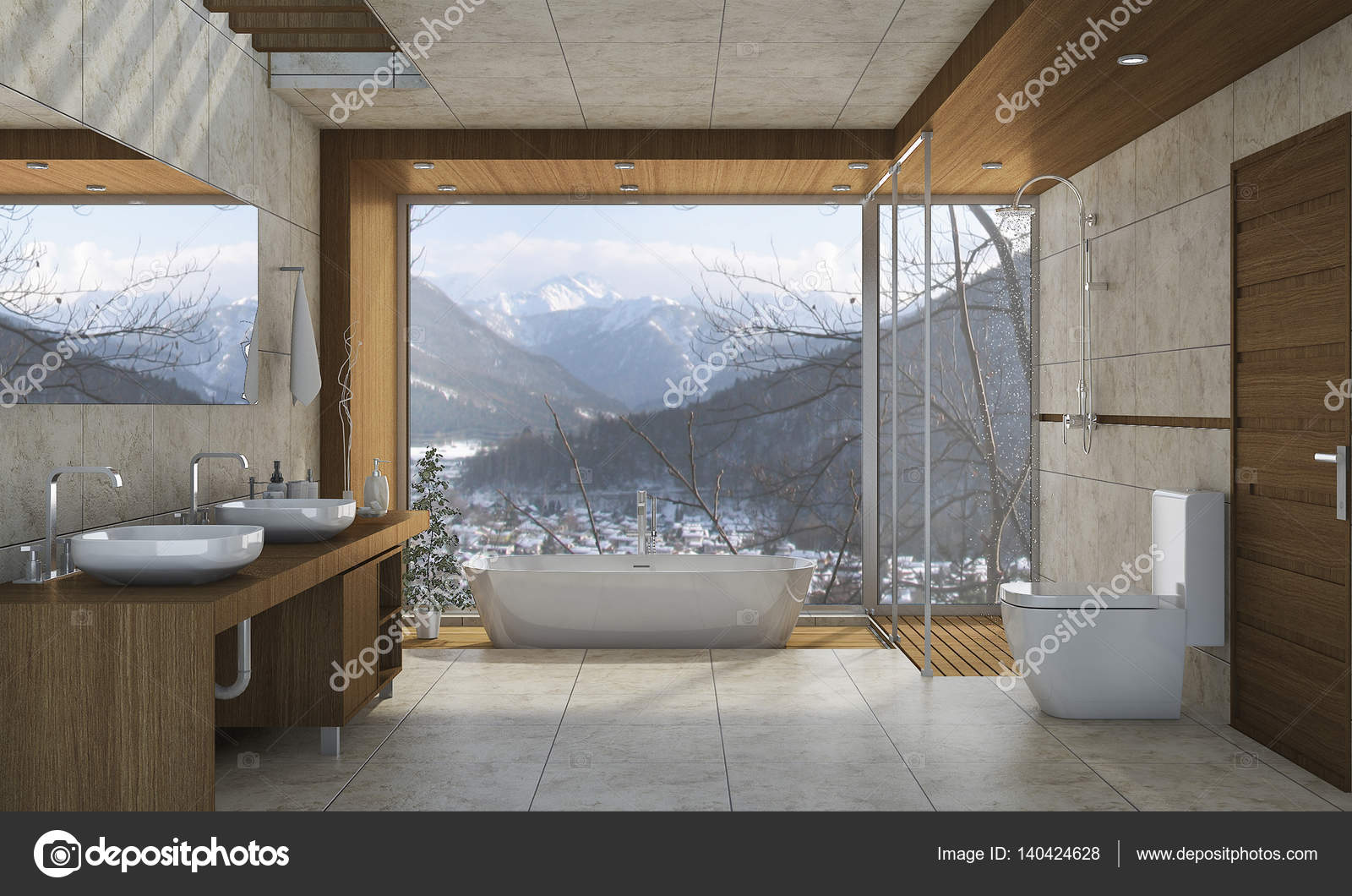 Interieur Natuur Badkamer : D rendering mooie natuur bekijken badkamer met mooi design
