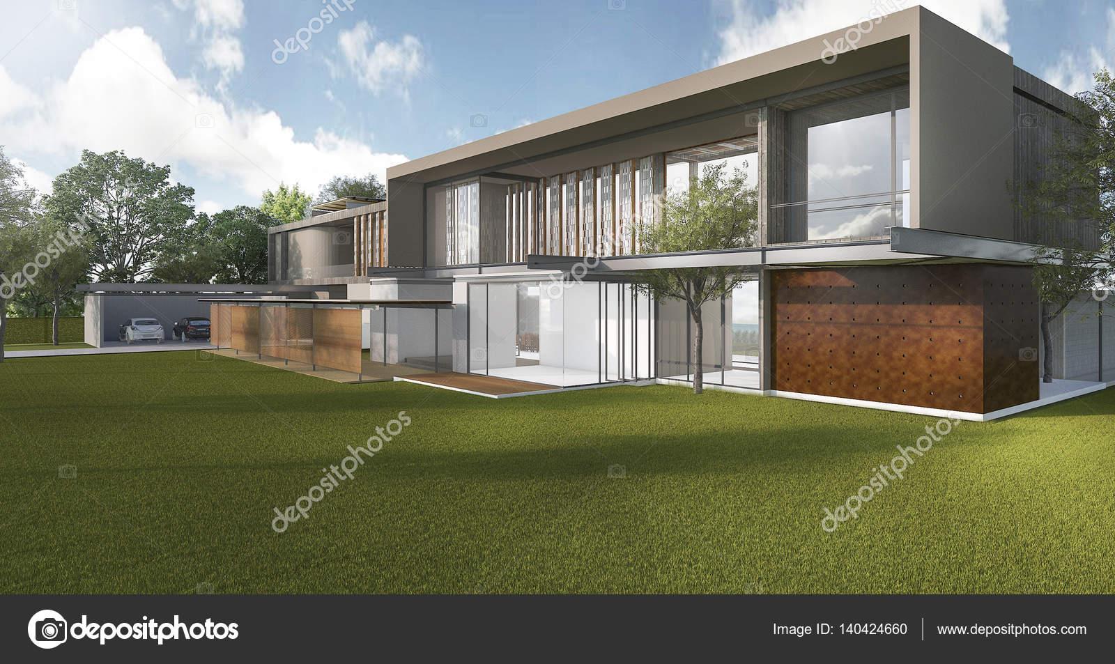3d rendering mooie moderne stijl huis met prachtig park en boom