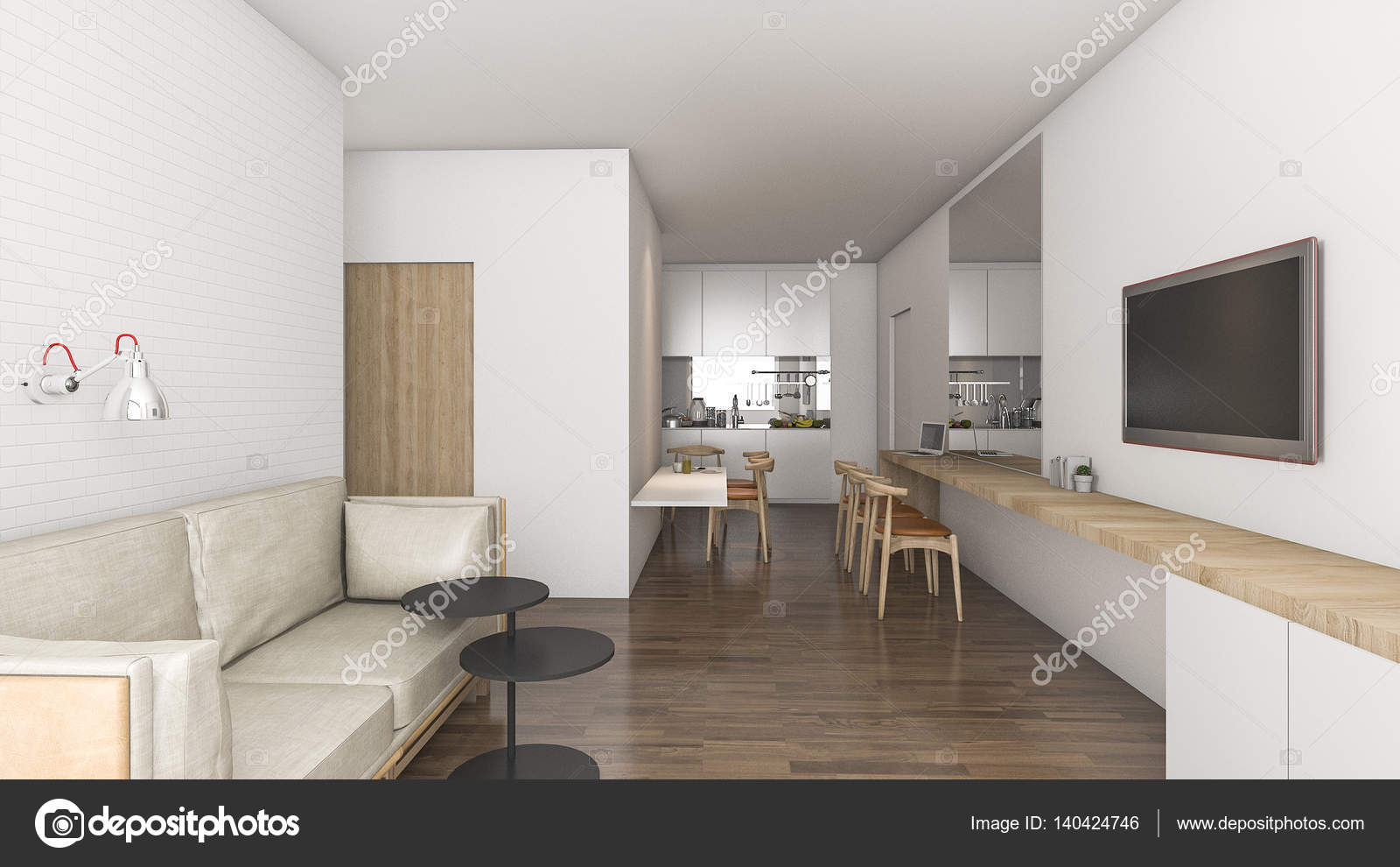3D rendering soggiorno nell\'idea di condominio con bella decorazione ...