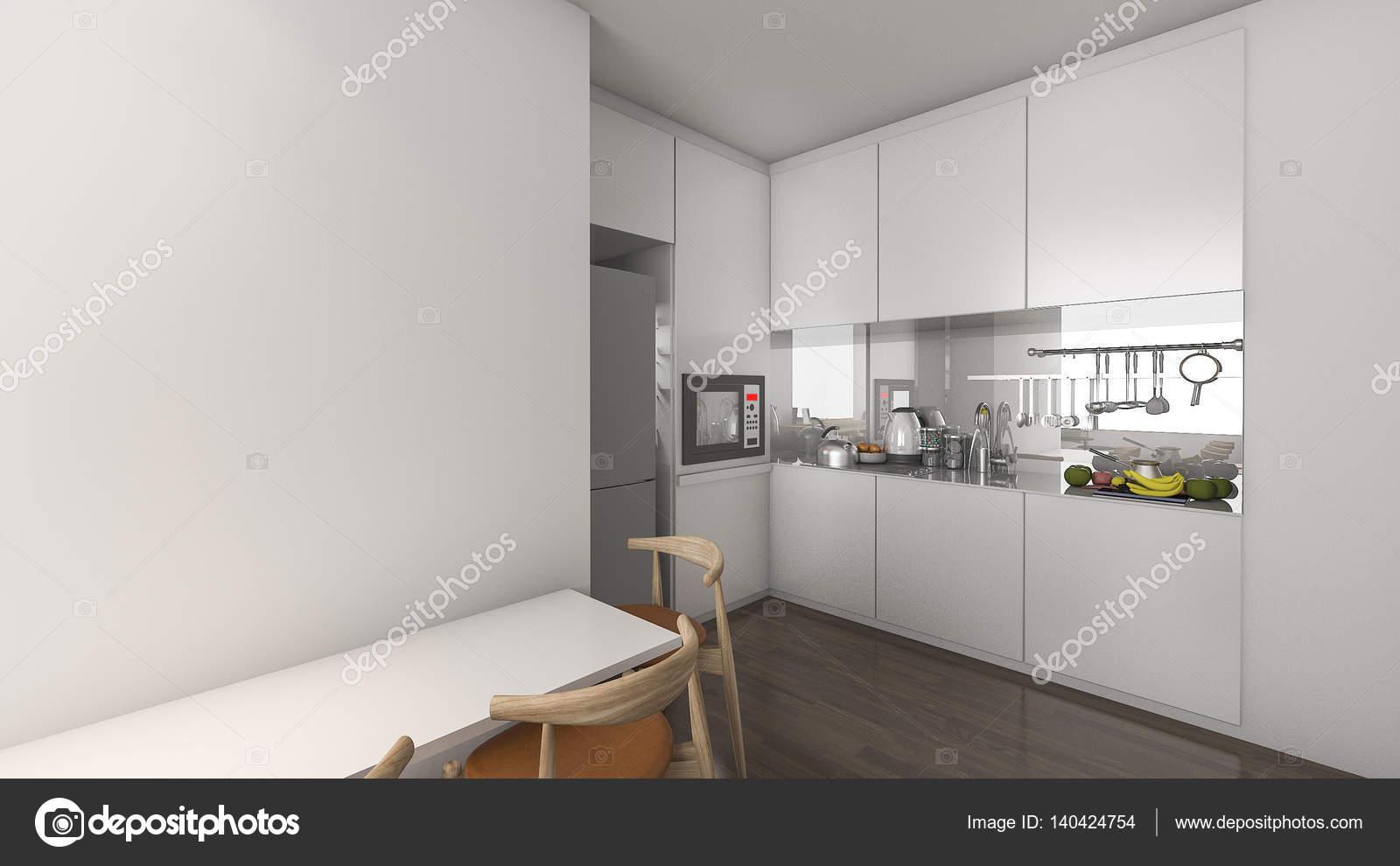 D rendering keuken in condominium idee met leuke decoratie