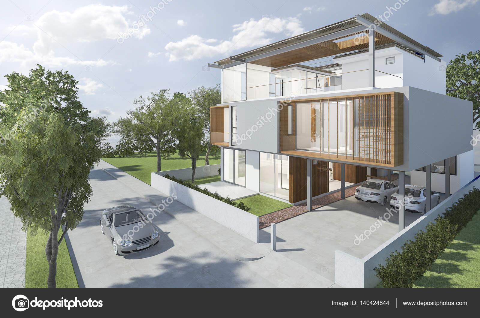 3D Rendering außen modernes Haus mit gutem design — Stockfoto ...