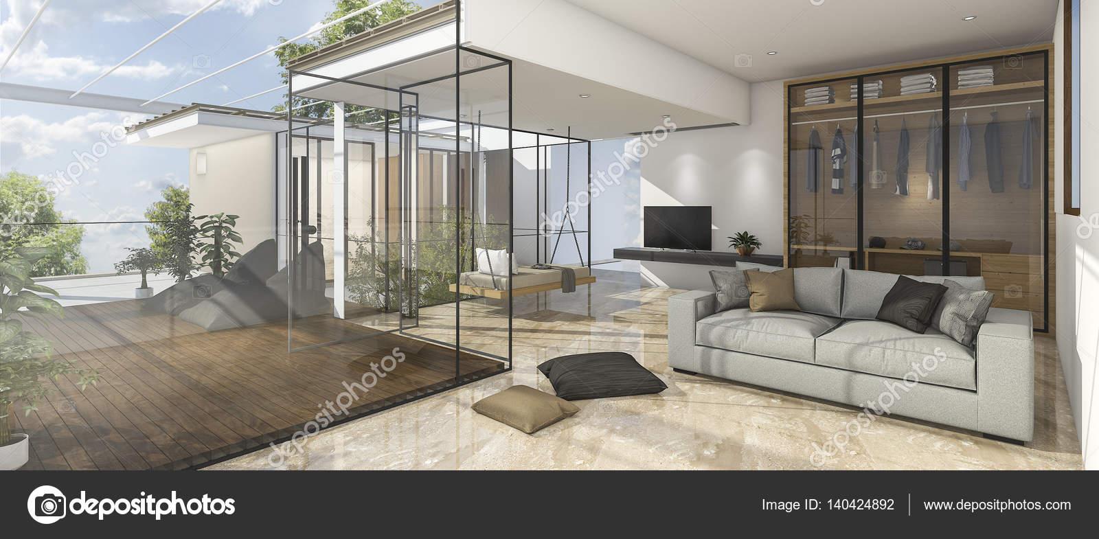 3D rendering soggiorno bella vista con riflettere mattonelle di ...