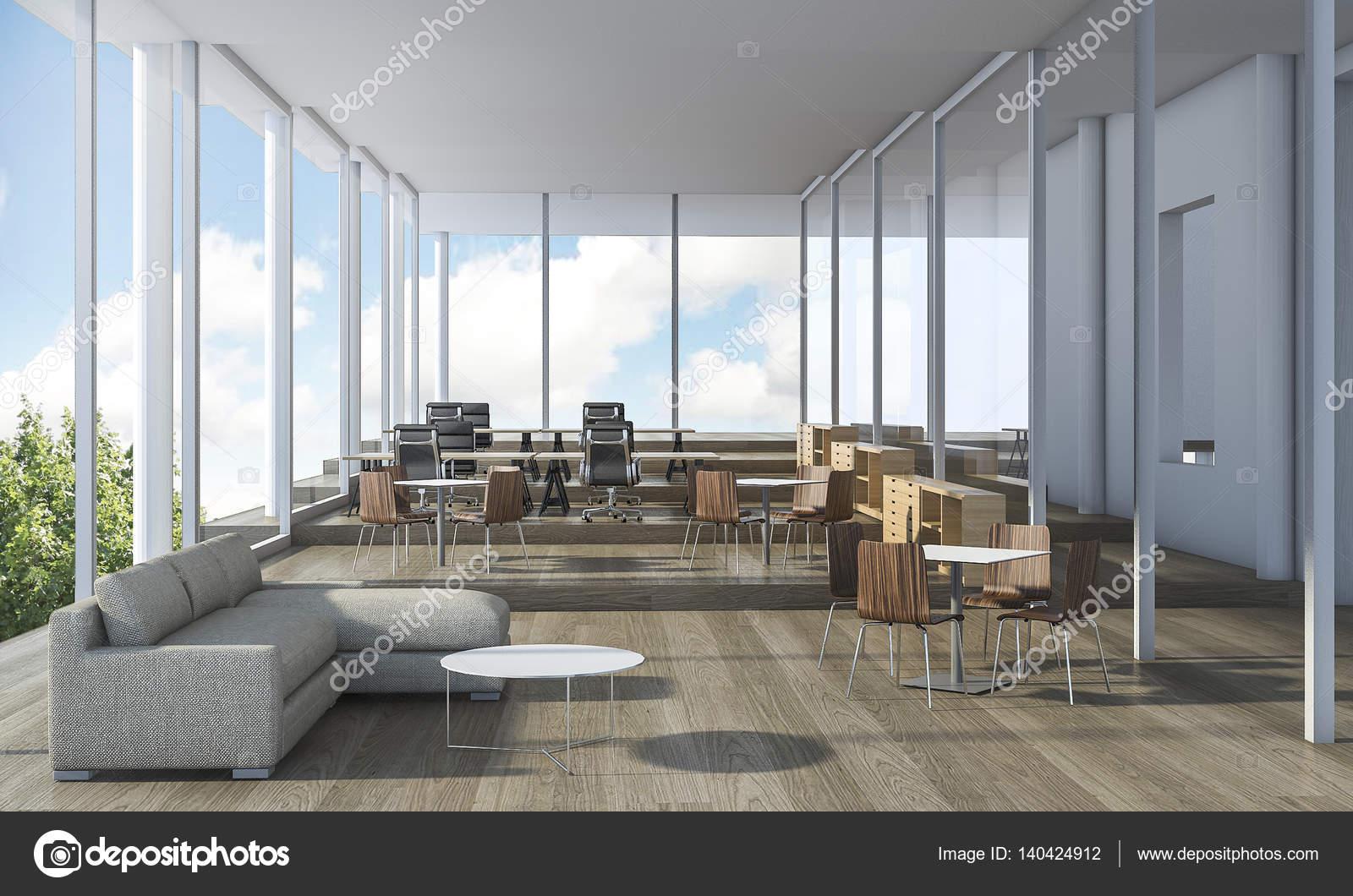 Intérieur de bureau agréable rendu 3d avec beaux meubles
