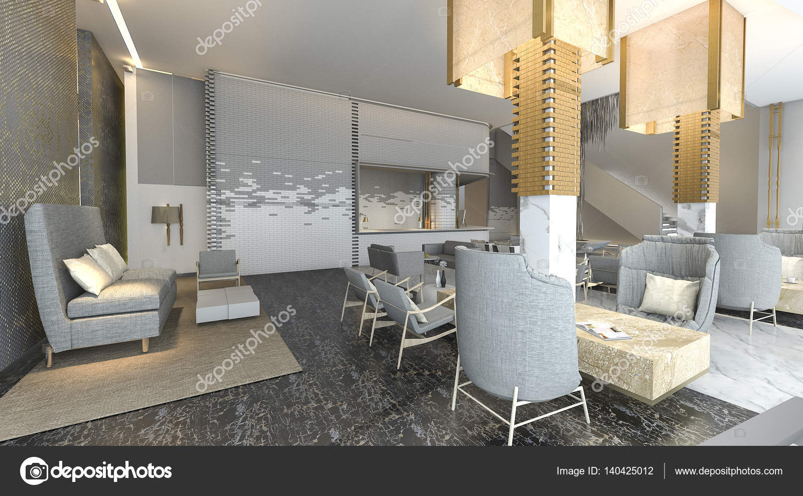 3d rendering beautiful and luxury hotel lobby with nice