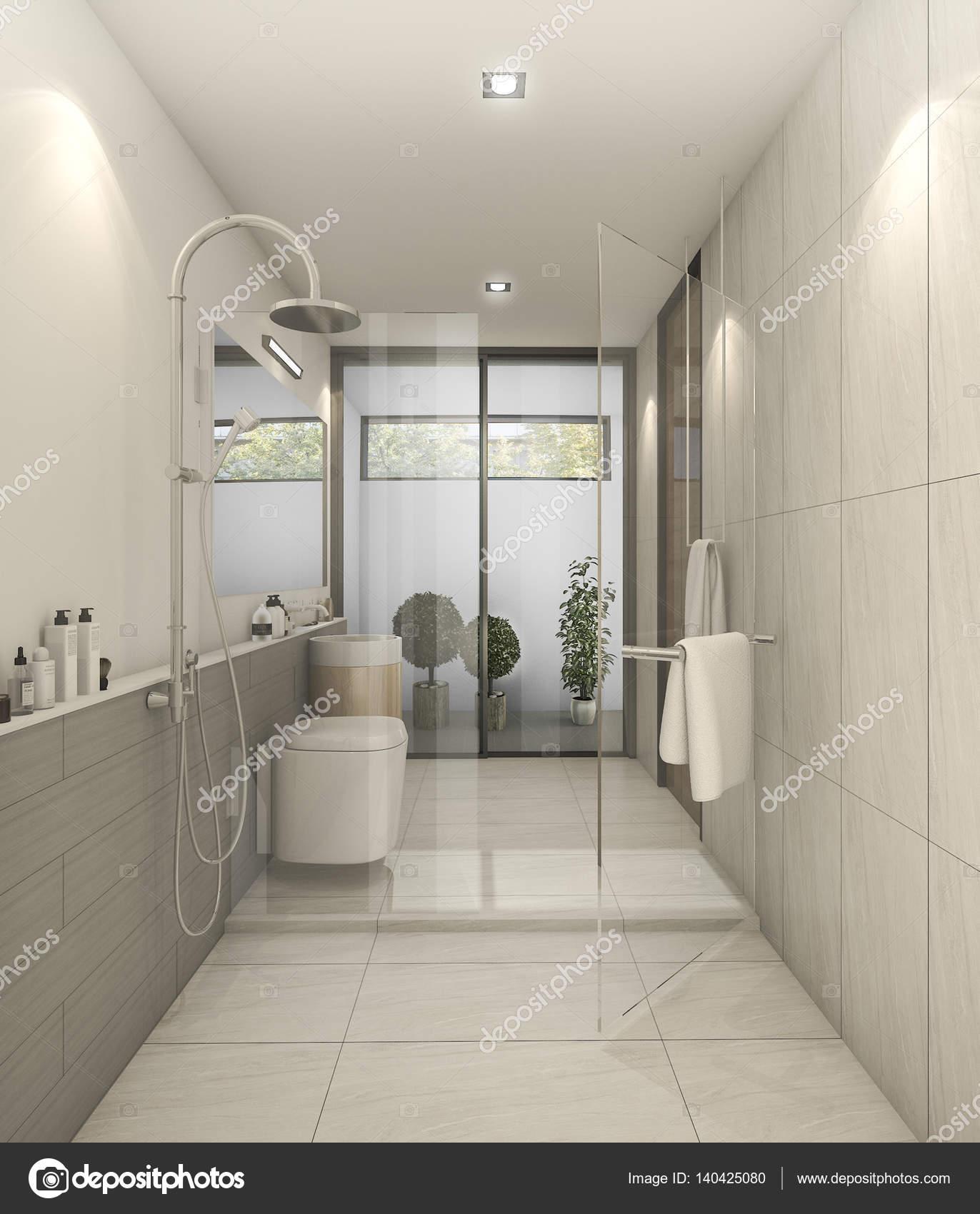 3D Rendering weiße schöne moderne Toilette mit gute Dekoration ...