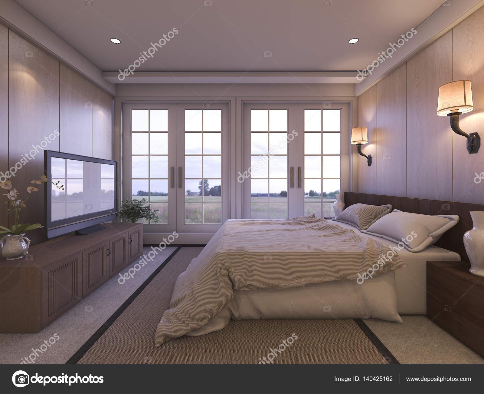 chambre de luxe romantique rendu 3D avec tv et belle vue depuis la ...