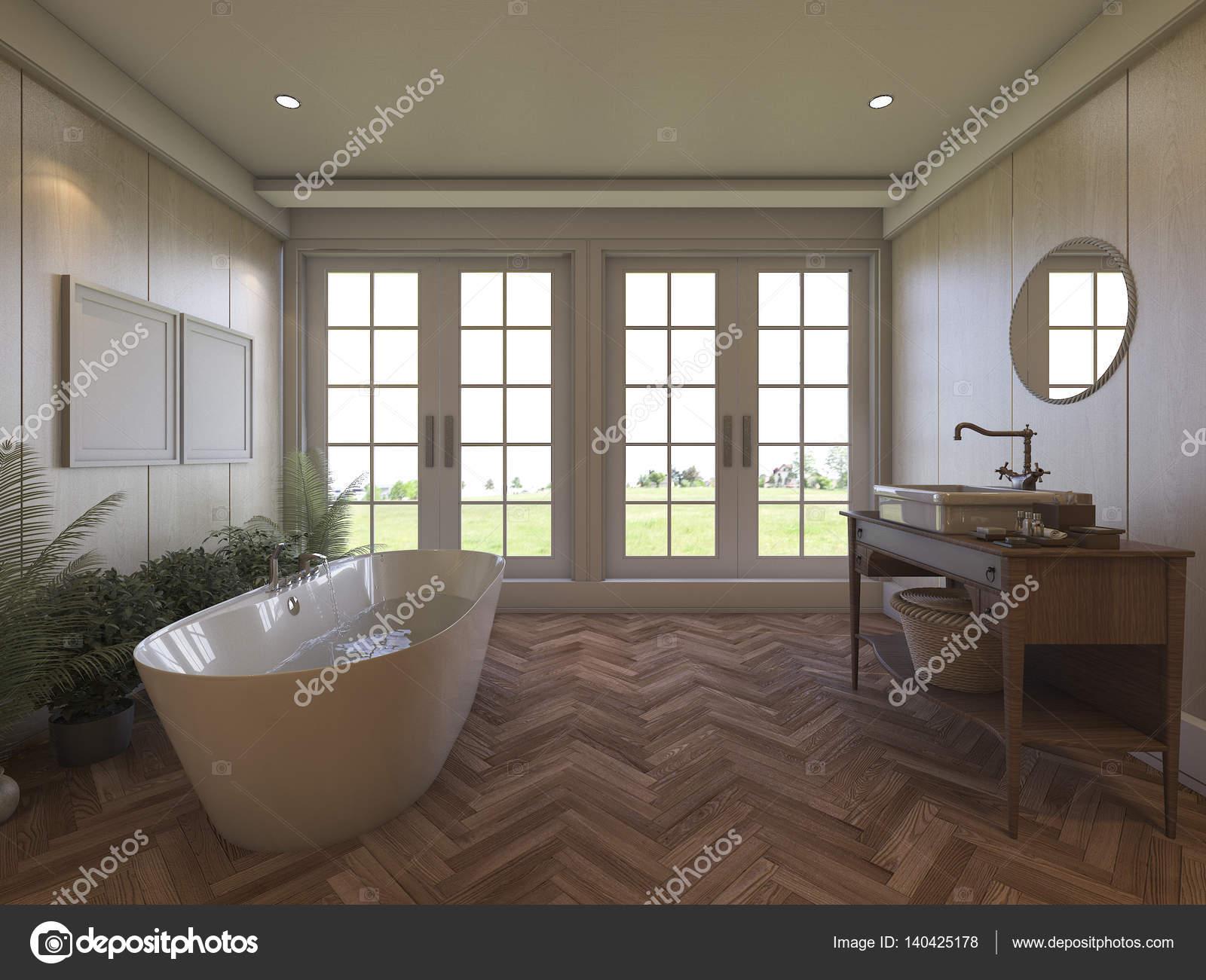 3D Rendering braun Laminat Badezimmer mit schöner Aussicht ...