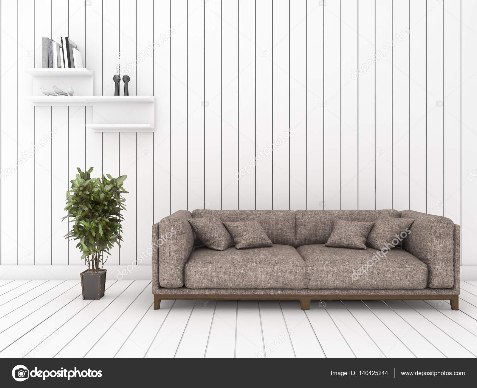 3d Rendering Weisse Holz Wohnzimmer Mit Minimalen Cool Sofa Und Regal