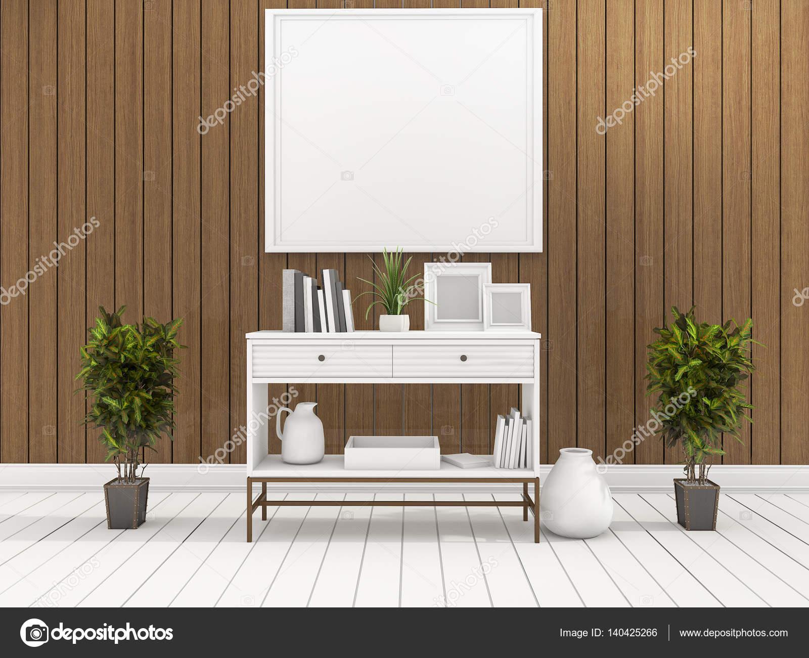 3d Rendering Minimal Weissen Regal Holz Wohnzimmer Mit Pflanze In Der