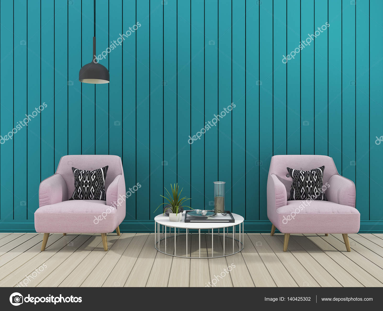 D rendering parete moderno verde soggiorno con poltrona morbida