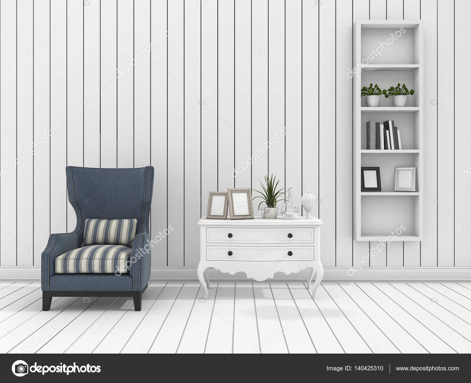 3D Rendering Weiße Moderne Wand Wohnzimmer Mit Klassischer Sessel U2014 Stockfoto