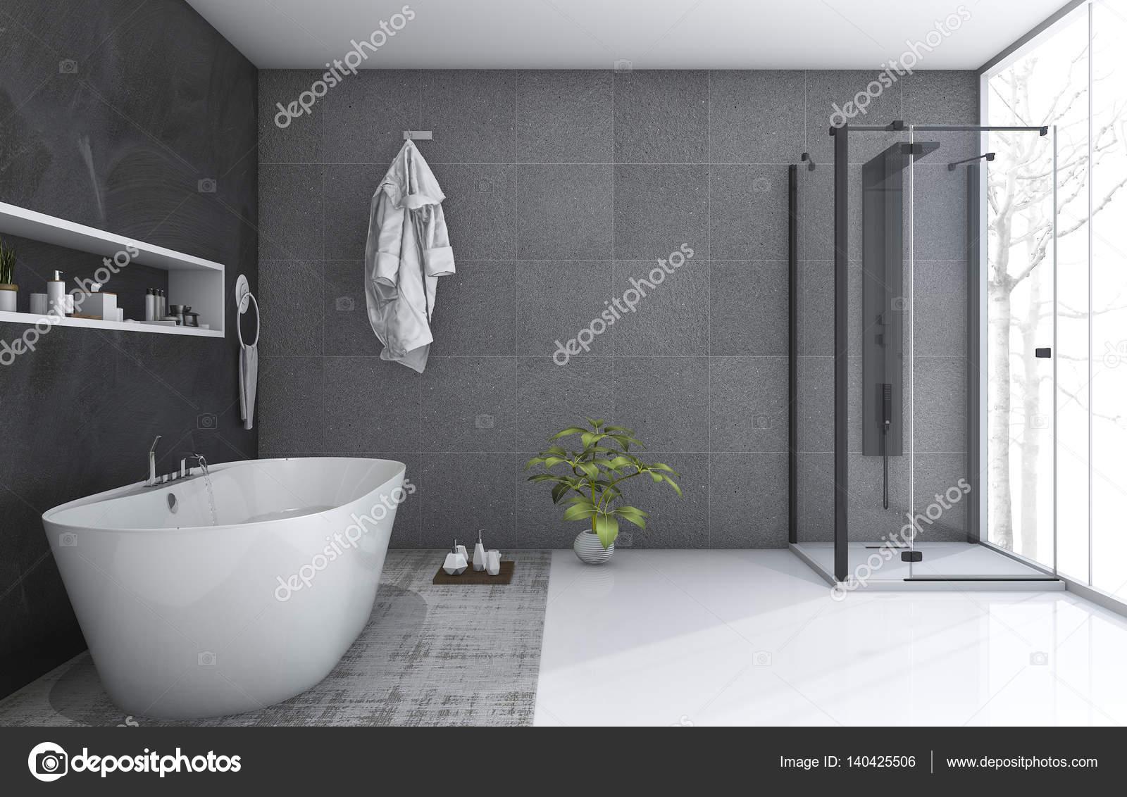 3D rendering moderne stijl badkamer met mooie Winters aanblik ...