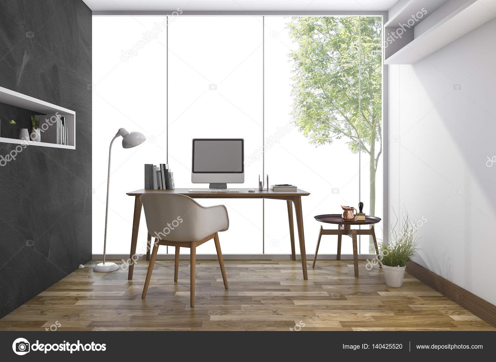 3D Rendering-Arbeitsraum mit schöne Aussicht vom Fenster — Stockfoto ...