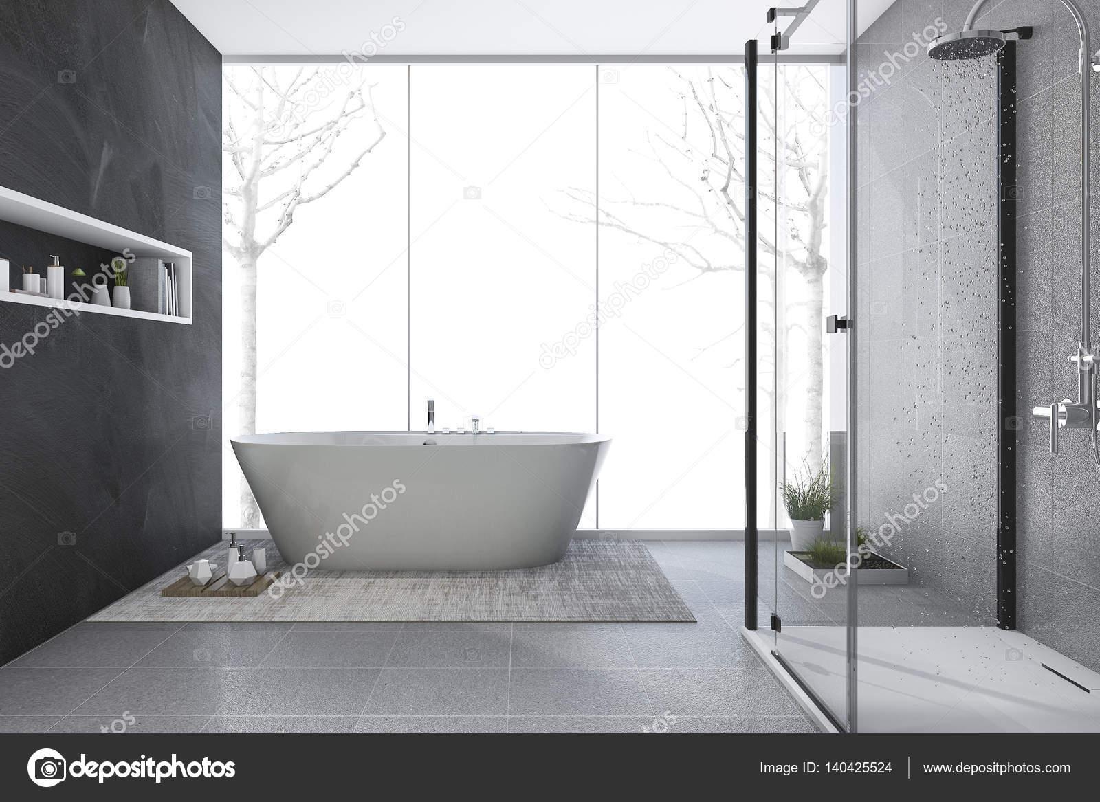 3d rendering moderne design badkamer in de winter u2014 stockfoto
