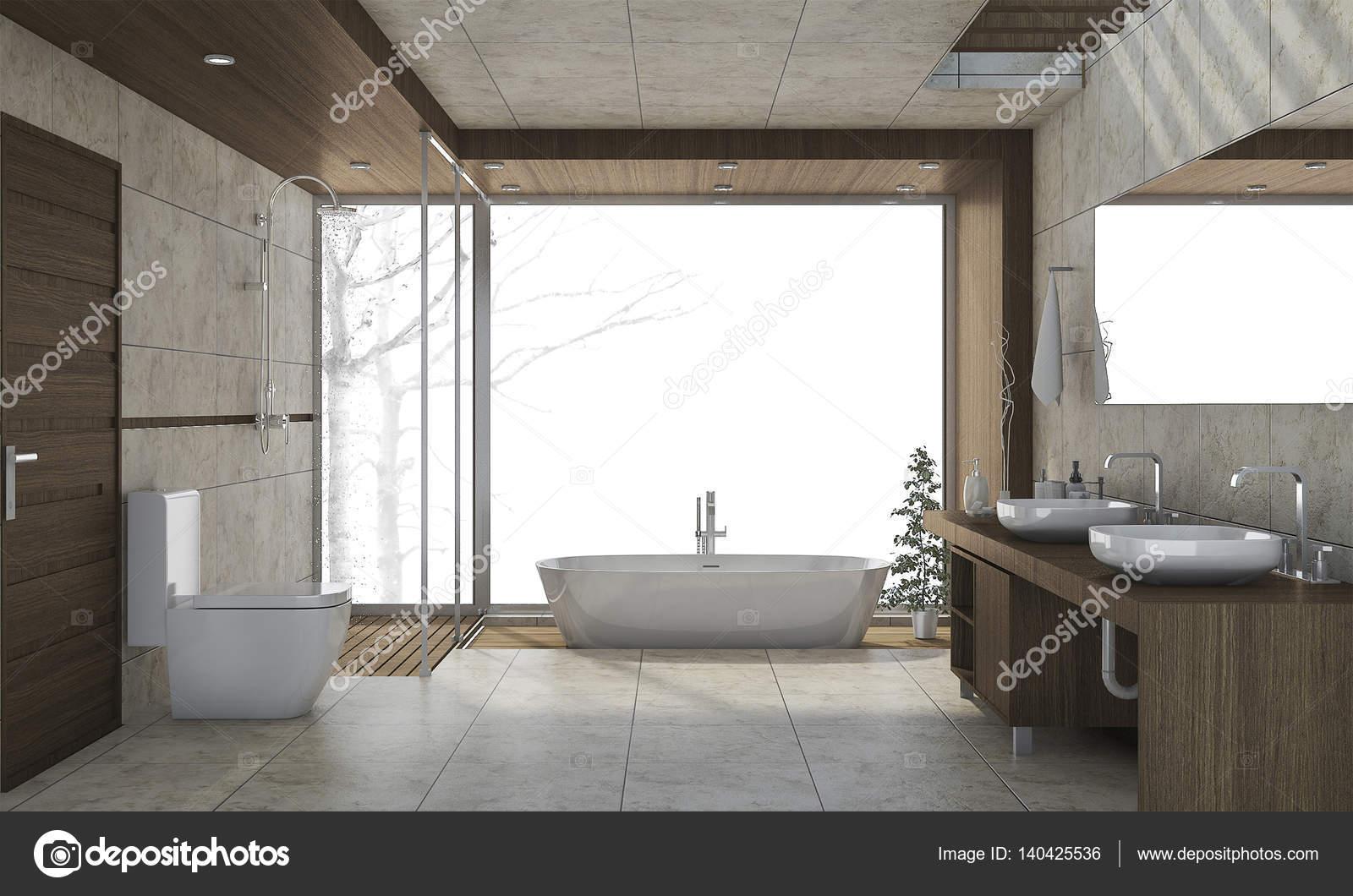 3d Rendering Mooi Design Badkamer Met Witte Achtergrond Stockfoto Rechtenvrije Foto Door C Dit26978 140425536