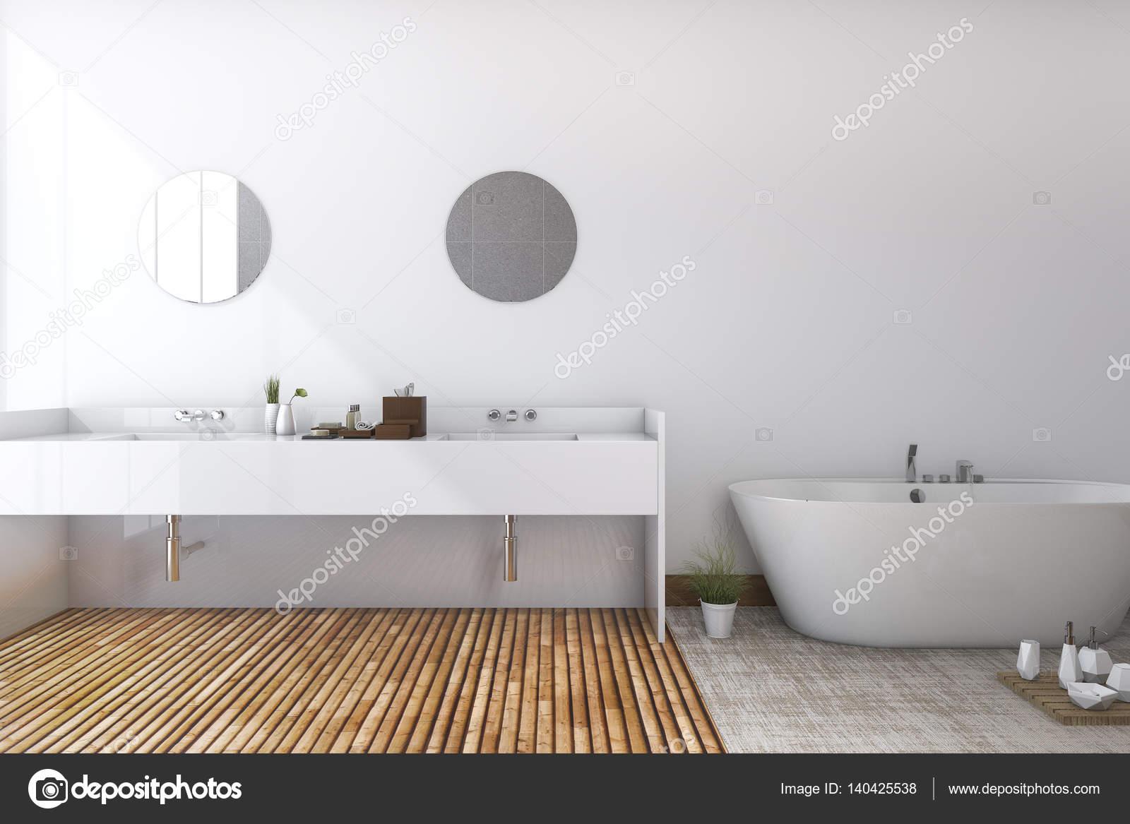 3d rendering witte minimale toilet en badkamer met houten vloer