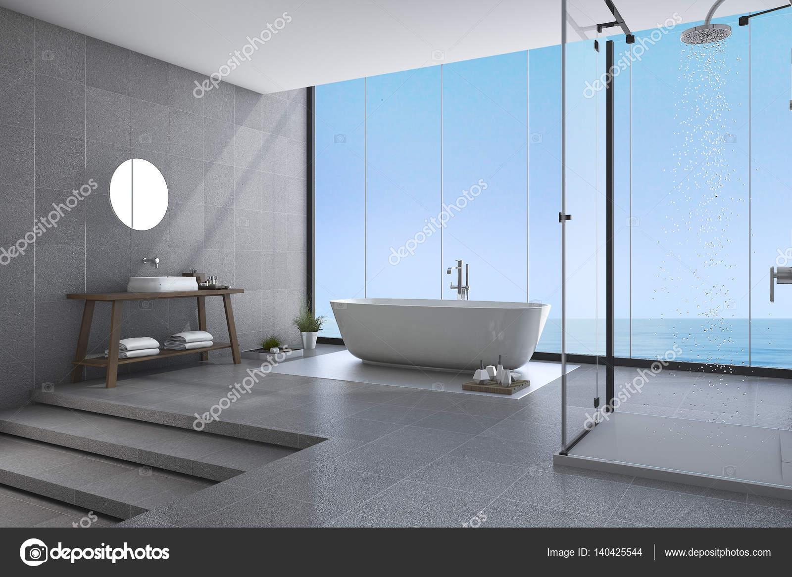 3d rendering beautiful steps modern bathroom near sea view — Stock ...