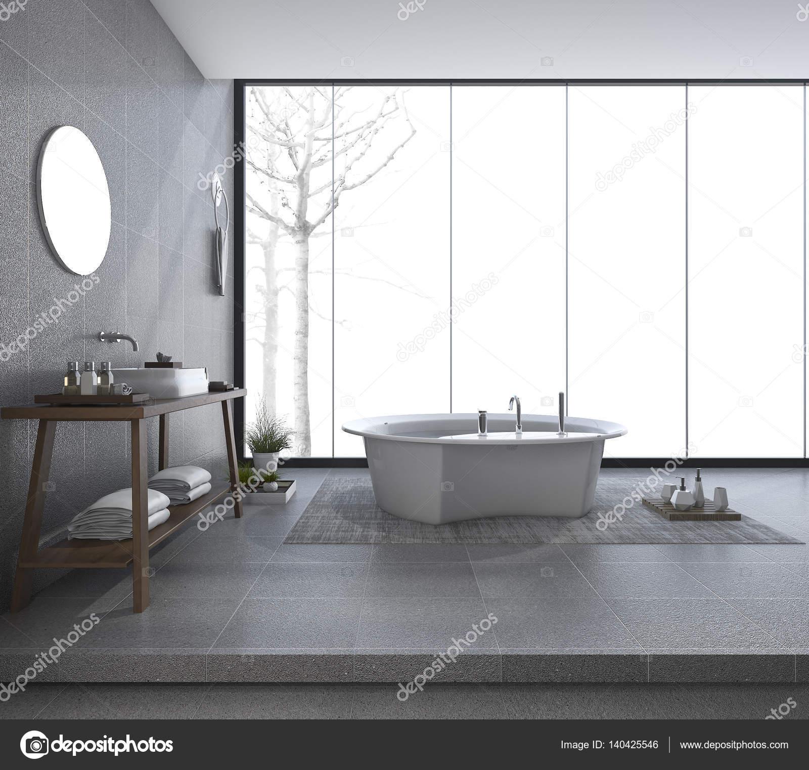 3D-rendering moderne badkamer ontwerp met prachtig uitzicht in de ...