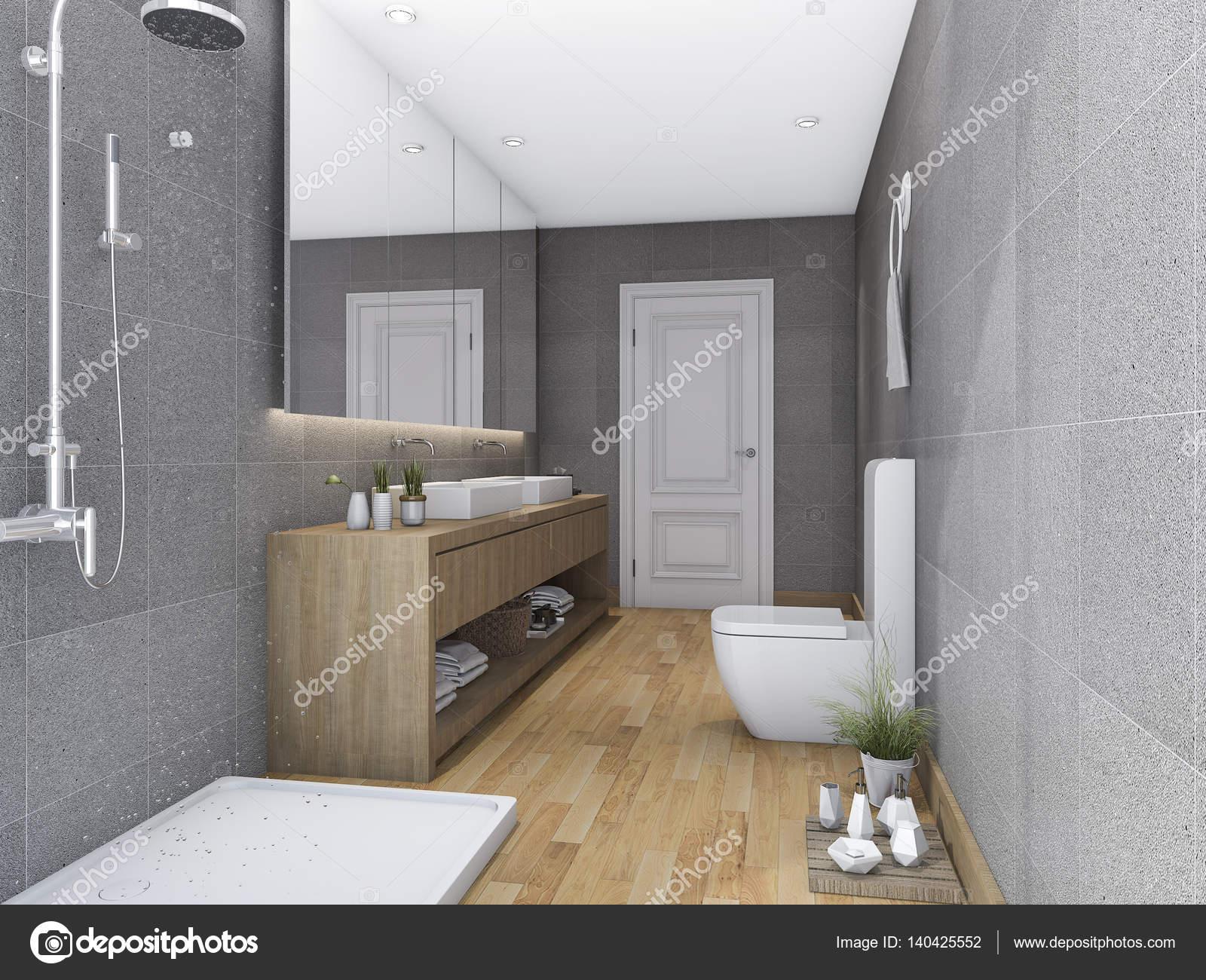 D rendering hout badkamer met modern design u stockfoto