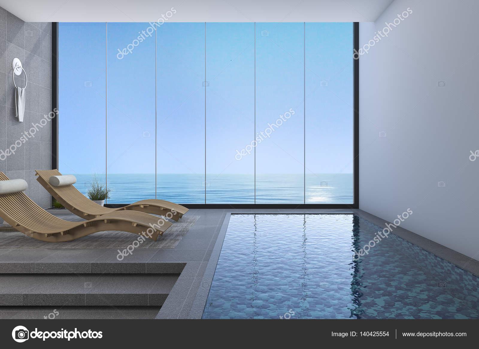 3D Rendering Holz Bett Sitzbank in der Nähe von Pool und Meer Blick ...