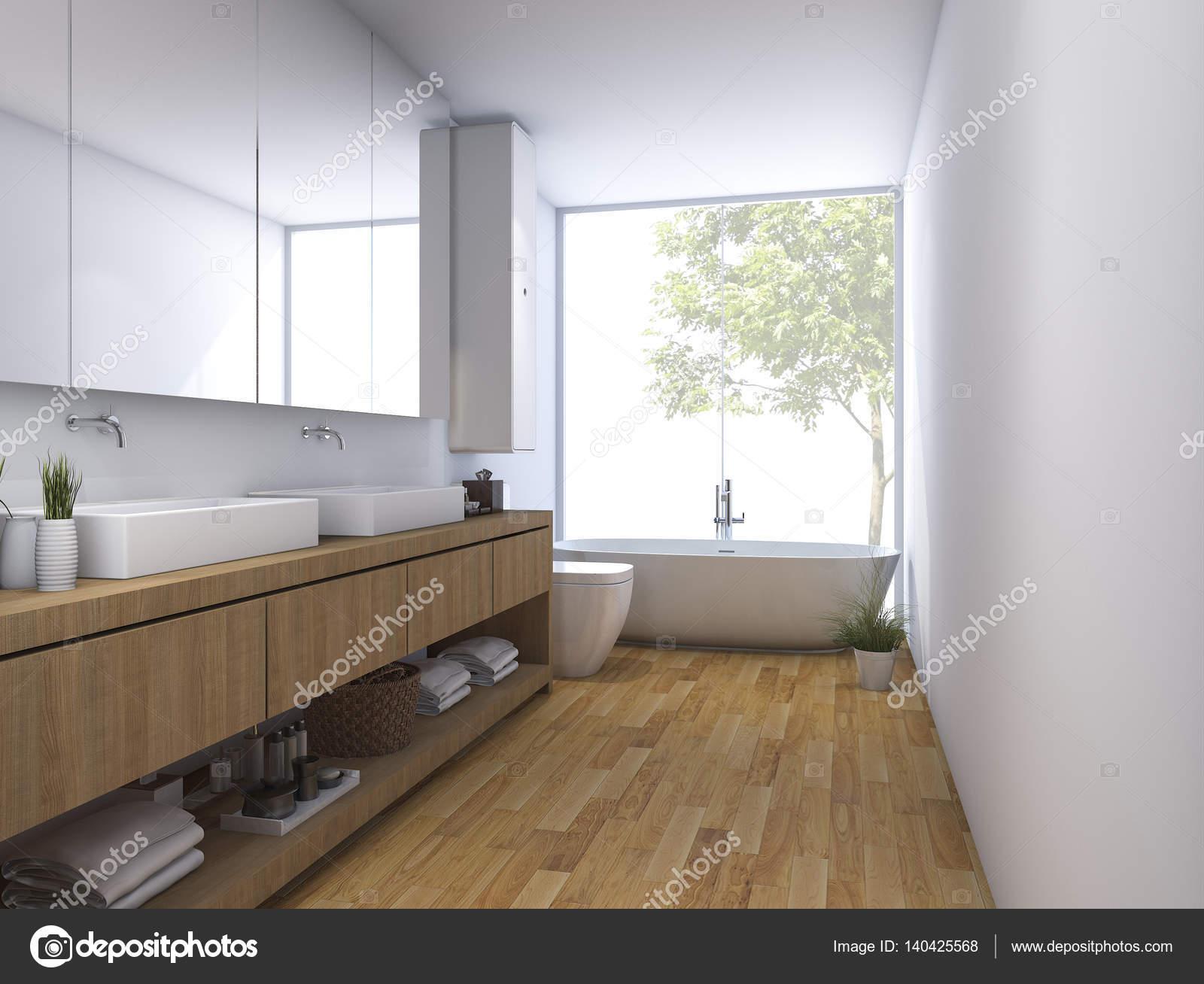 D rendering hout schone badkamer met gebouwd in ontwerp