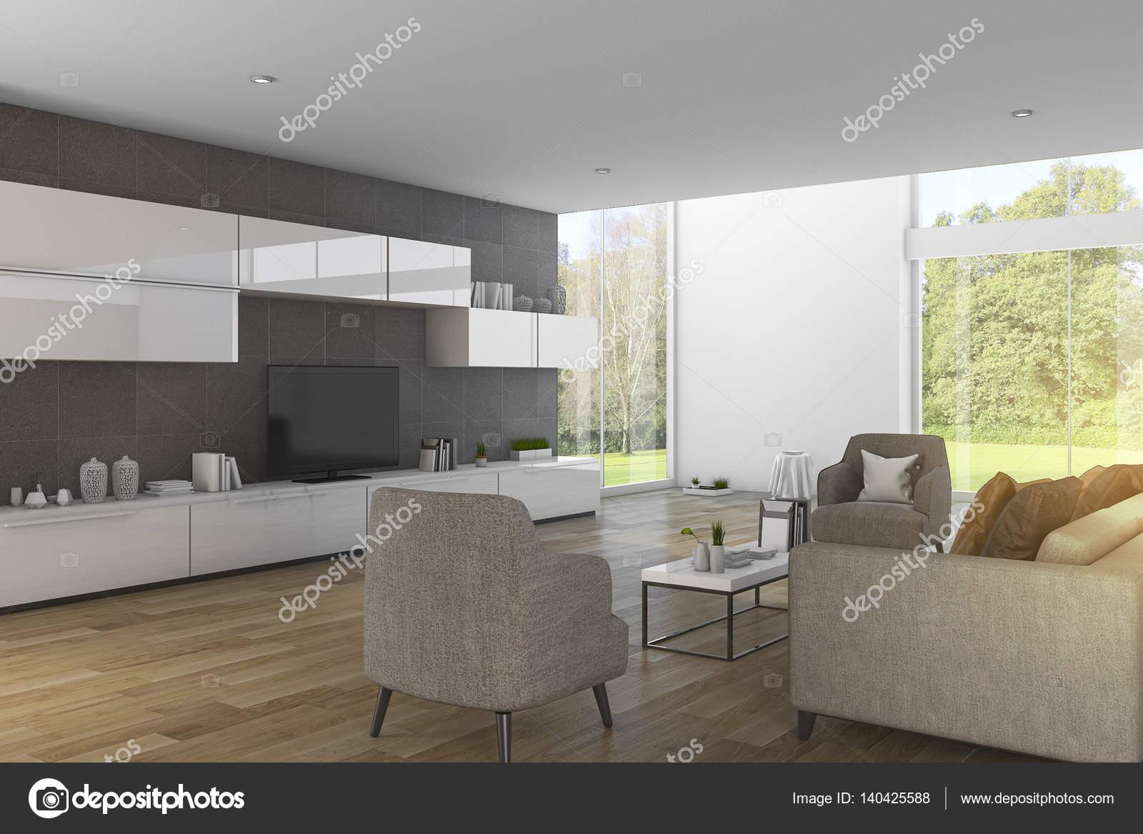 3D rendering moderne hout woonkamer met mooi uitzicht op de tuin ...
