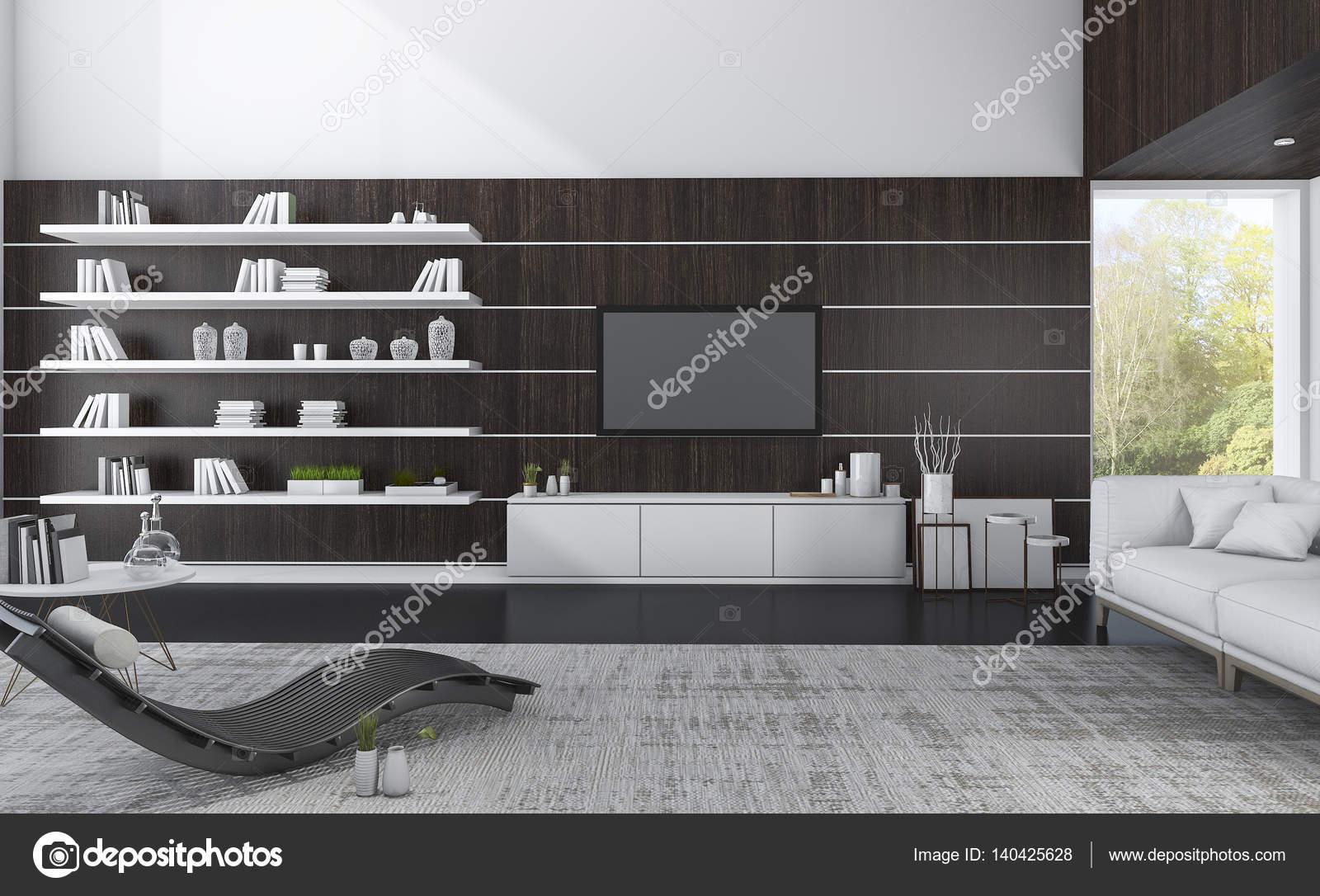 3d rendering luxus wohnzimmer mit dunklen holz und schne aussicht stockfoto - Schne Luxus Bilder Fr Wohnzimmer