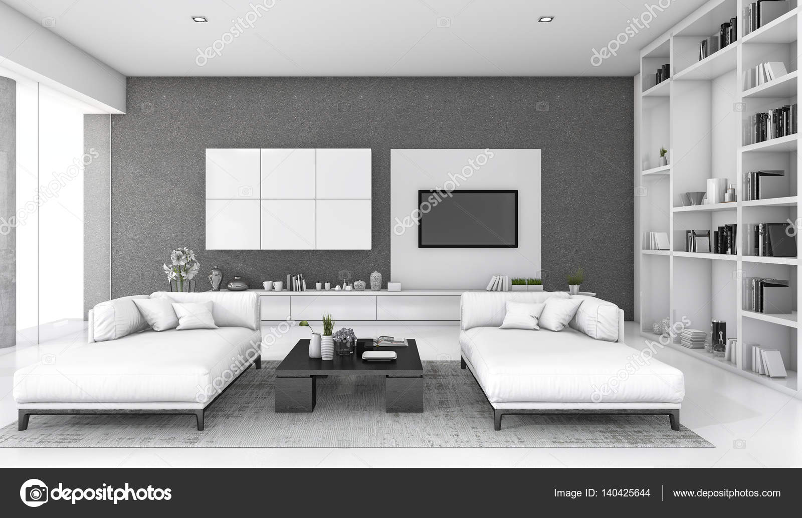3d rendering white loft living room with sofa and bookshelf — Stock ...