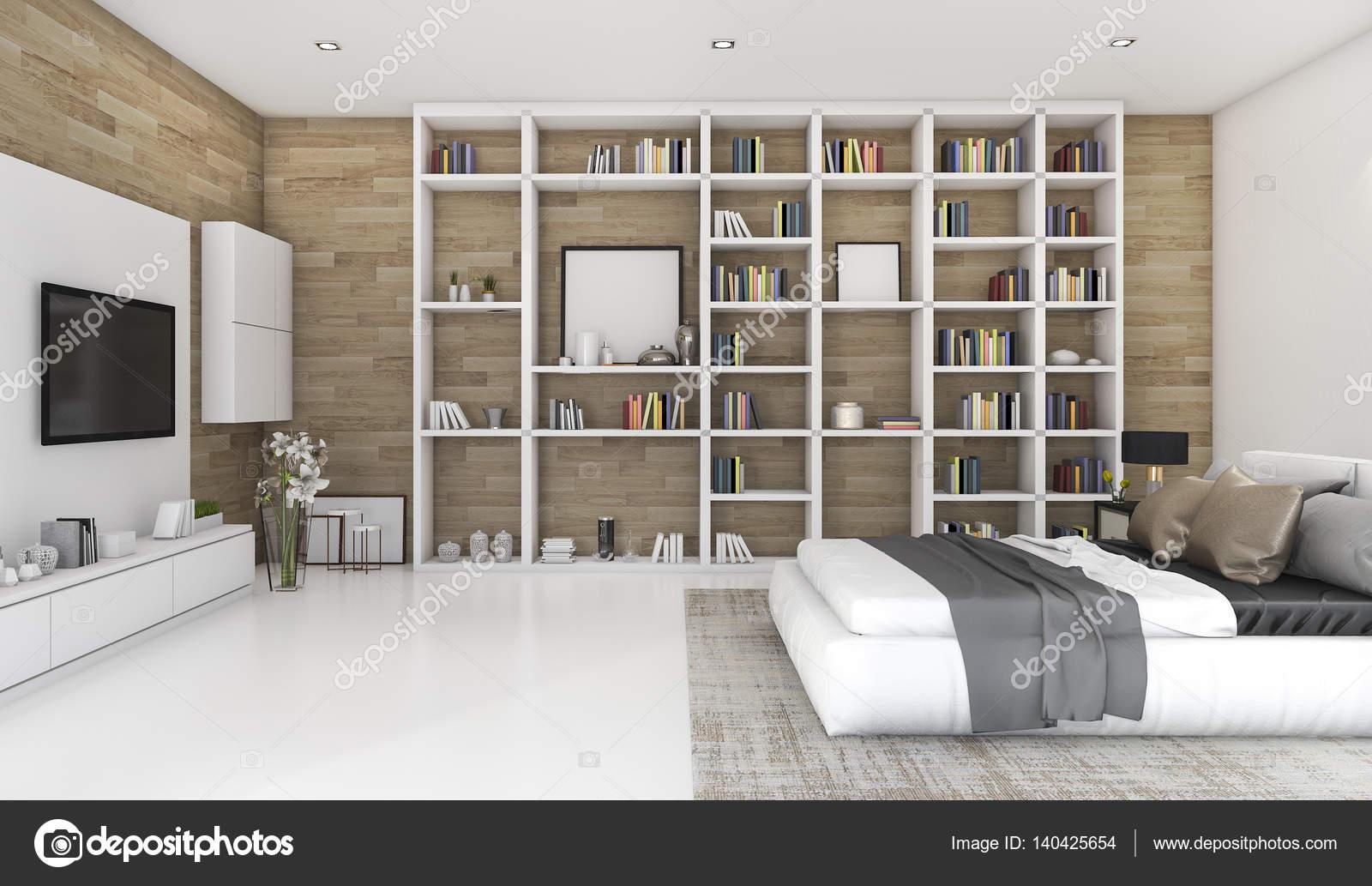3D rendering contemporaneo legno camera da letto con ...
