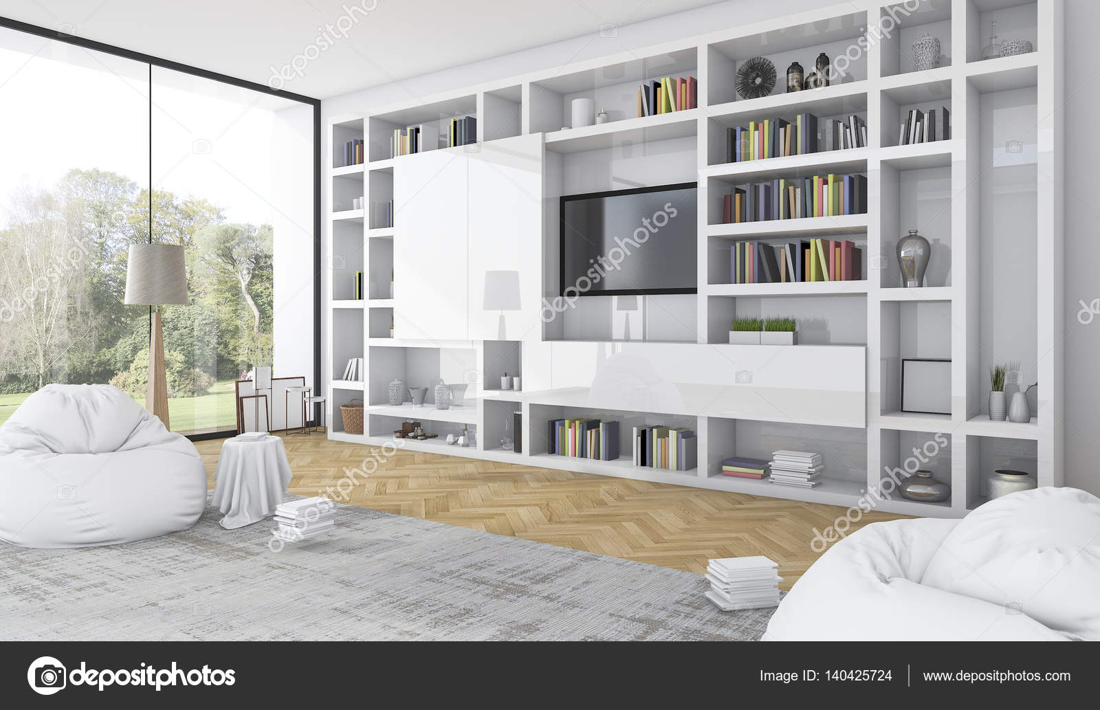 3d rendering built in white shelf with bean bag in modern white ...