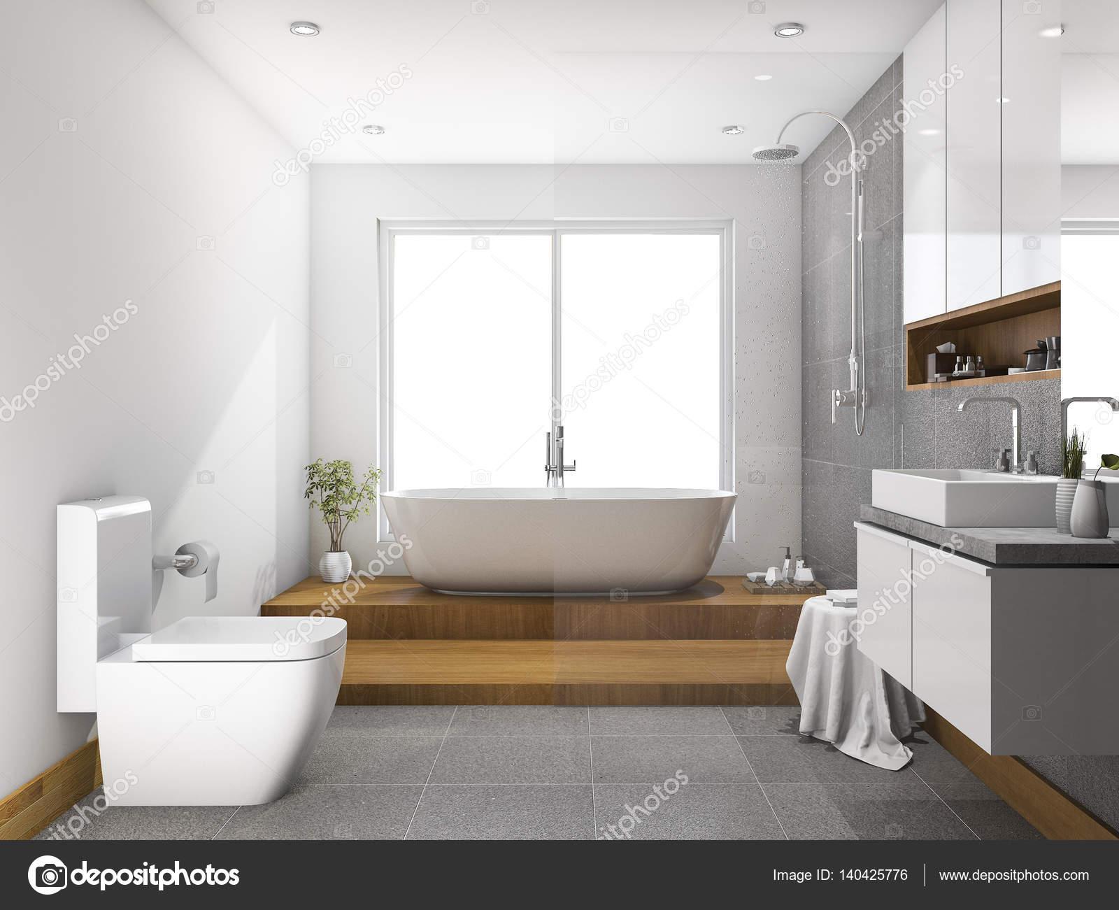 3D rendering hout stap badkamer en toilet met glas partitie ...