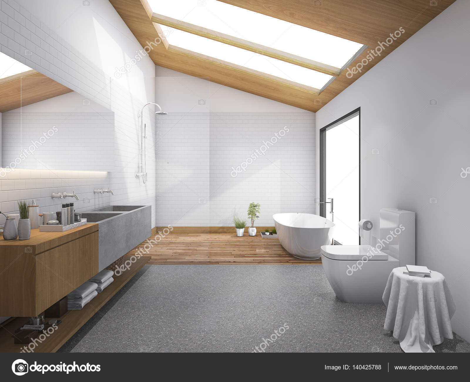 3d rendering skylight wood roof with modern design bathroom and ...