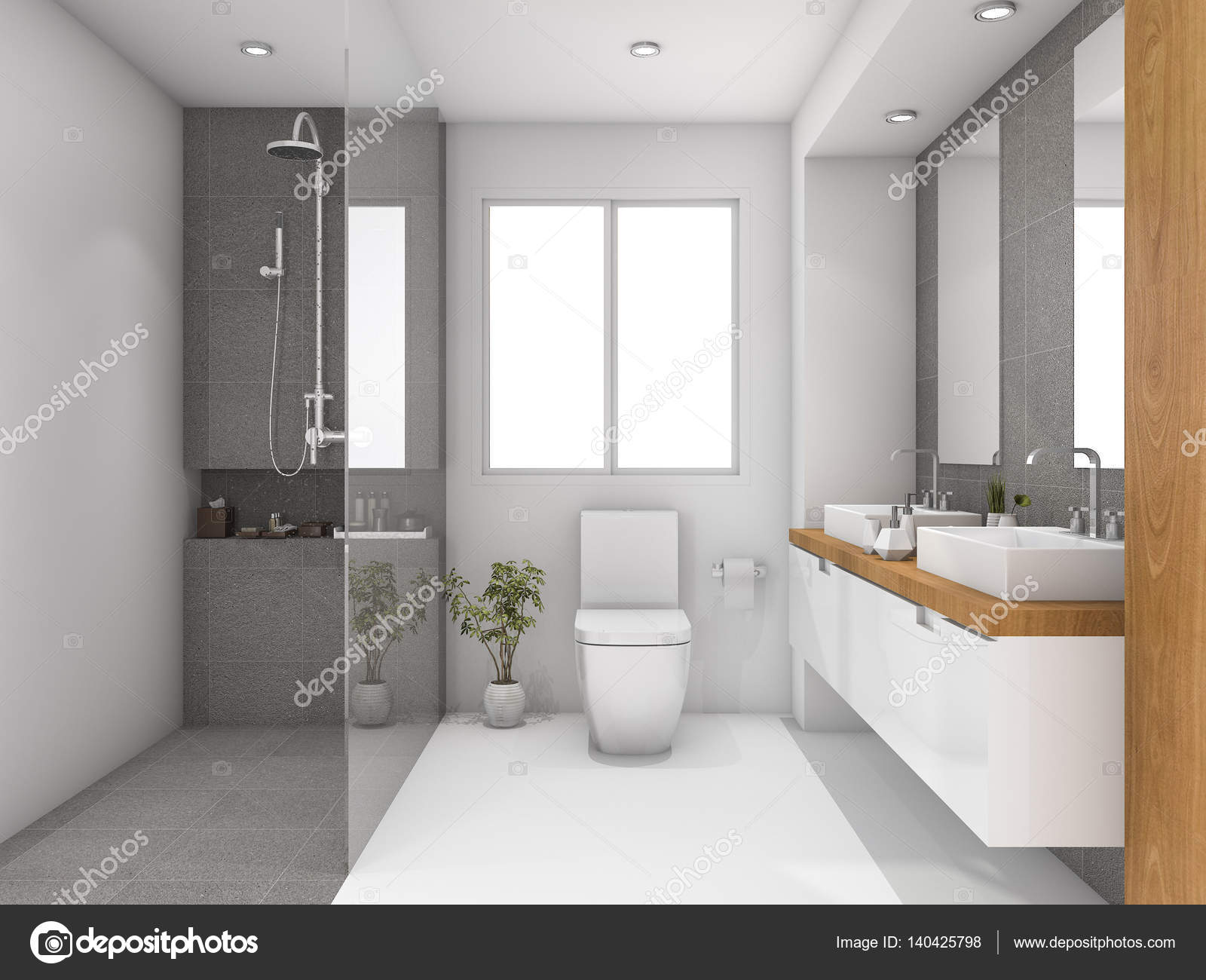 3d rendering minimal wood and stone white bathroom — Stock Photo ...