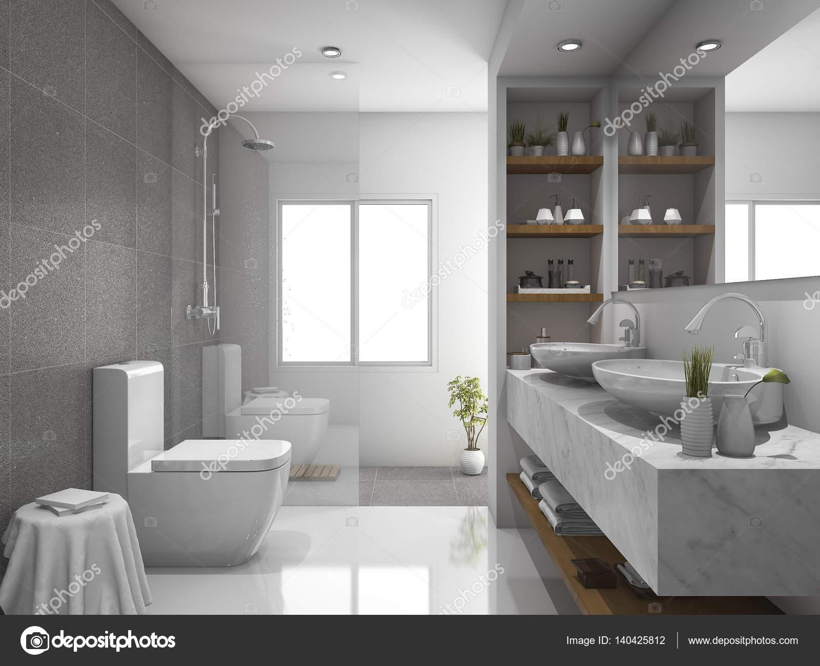 Marmo e d rendering design moderno piastrelle bagno e servizi