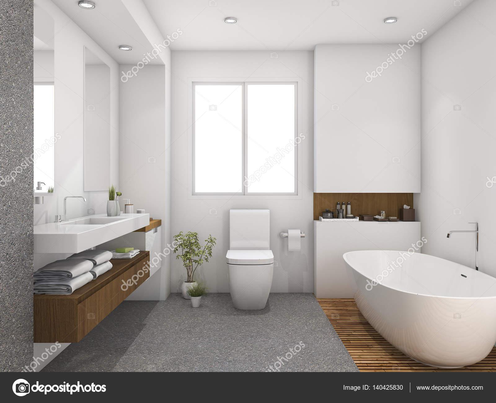 3D Rendering Holz und Fliesen design Badezimmer in der Nähe ...