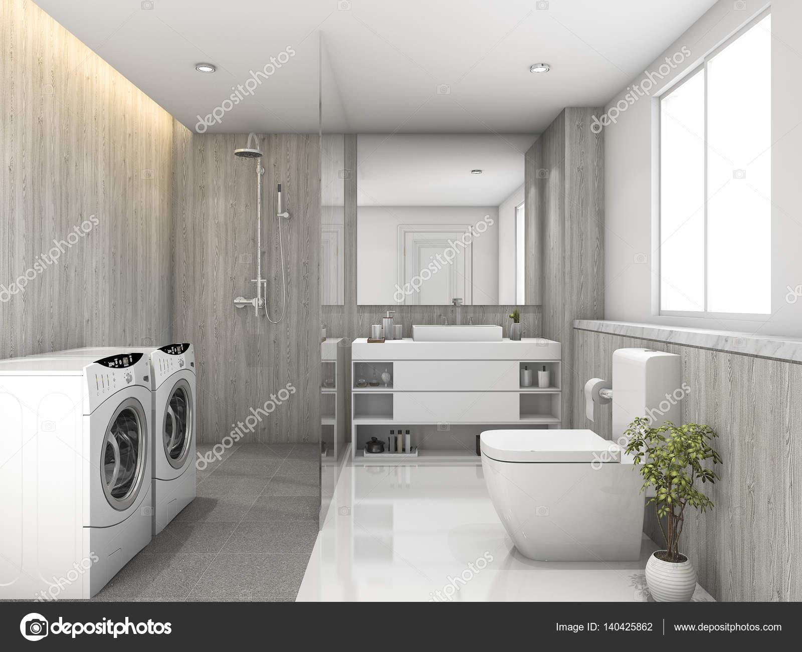 D rendering bianco legno e pietra piastrelle bagno e la