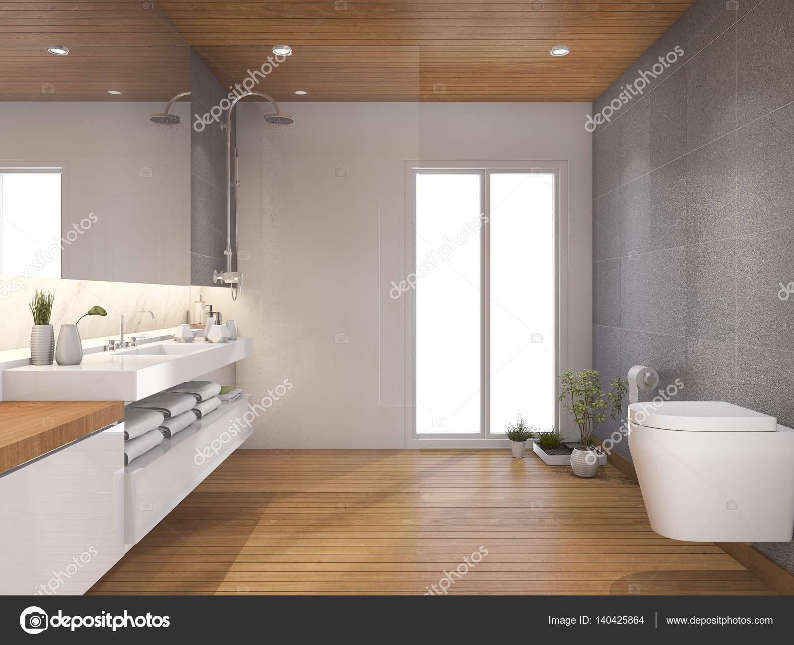 D rendering moderne hout badkamer en toilet in de buurt van