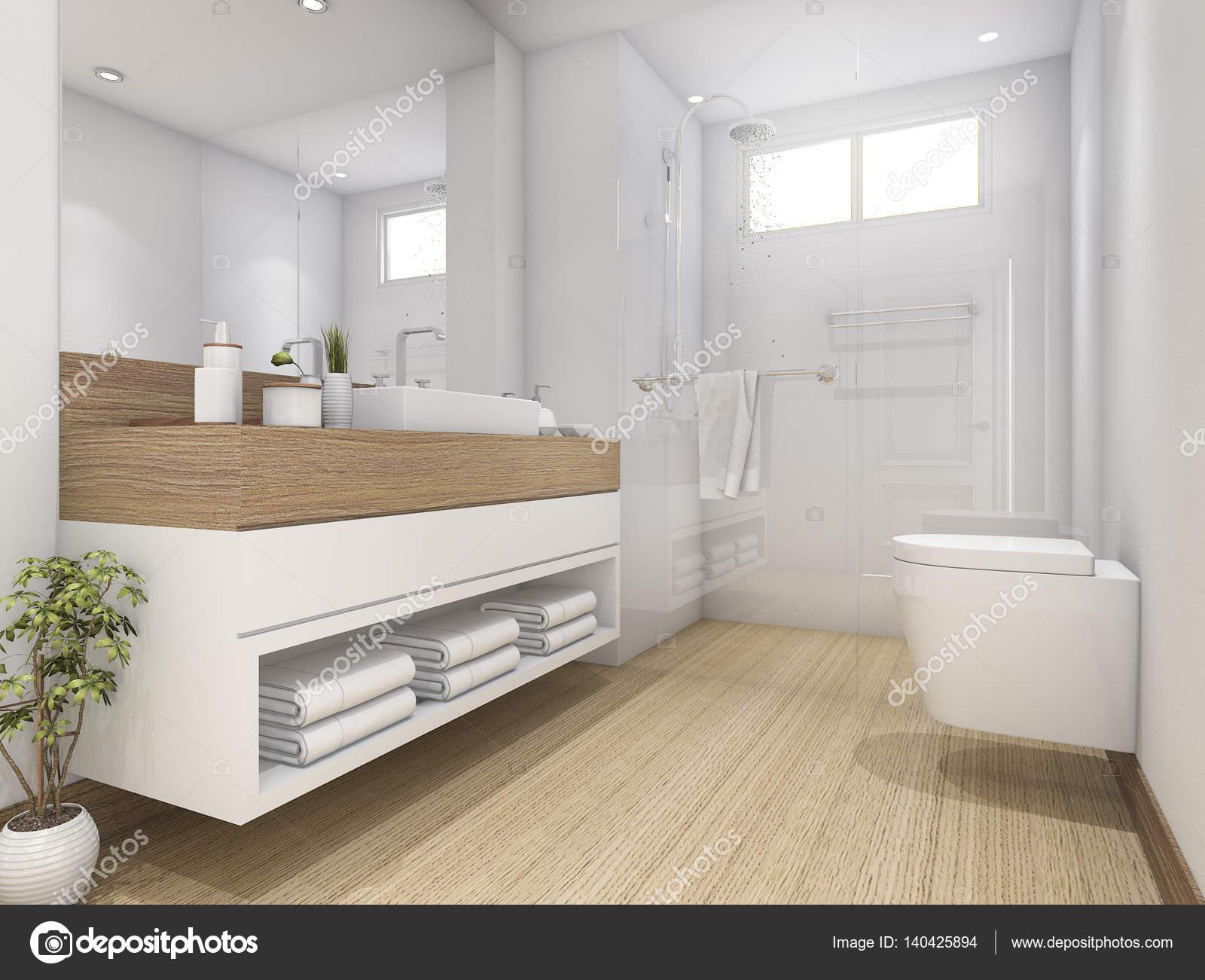 Toilettes et une salle de bains design bois blanc 3d rendu ...