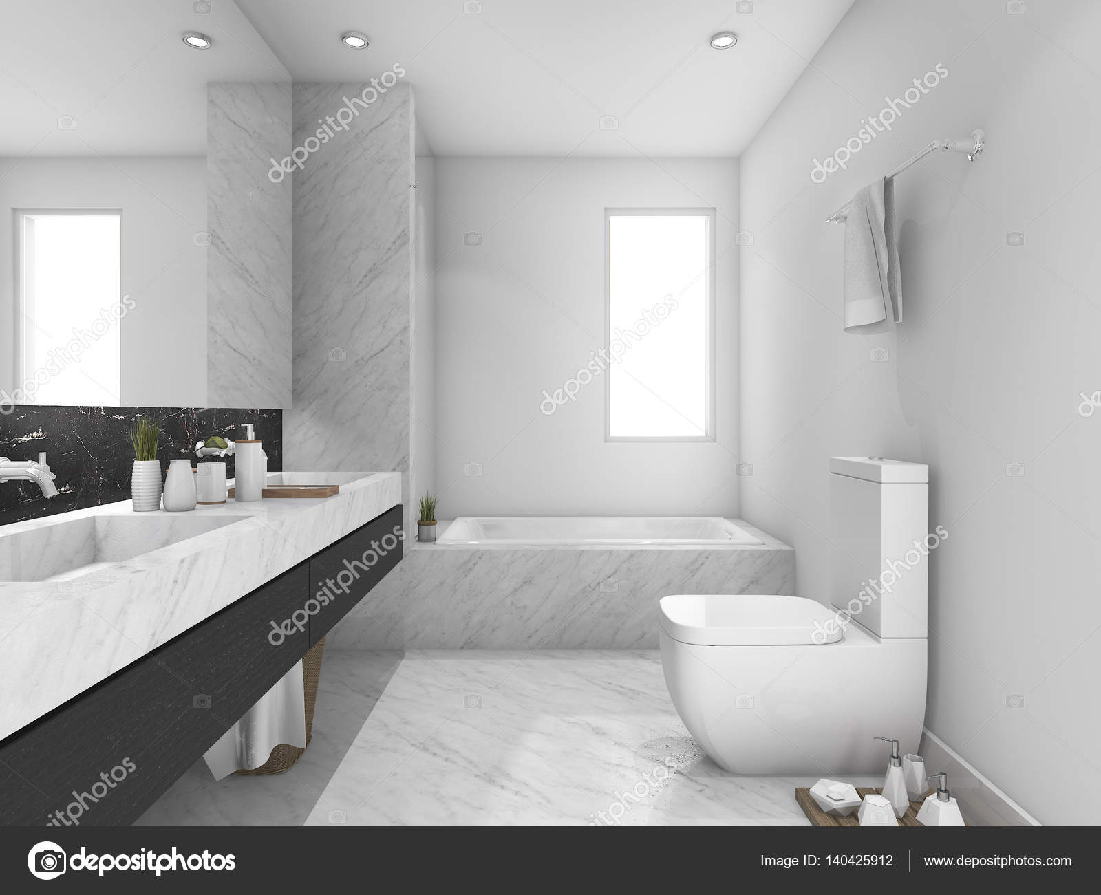 3d rendering white and black marble toilet and bathroom — Stock ...