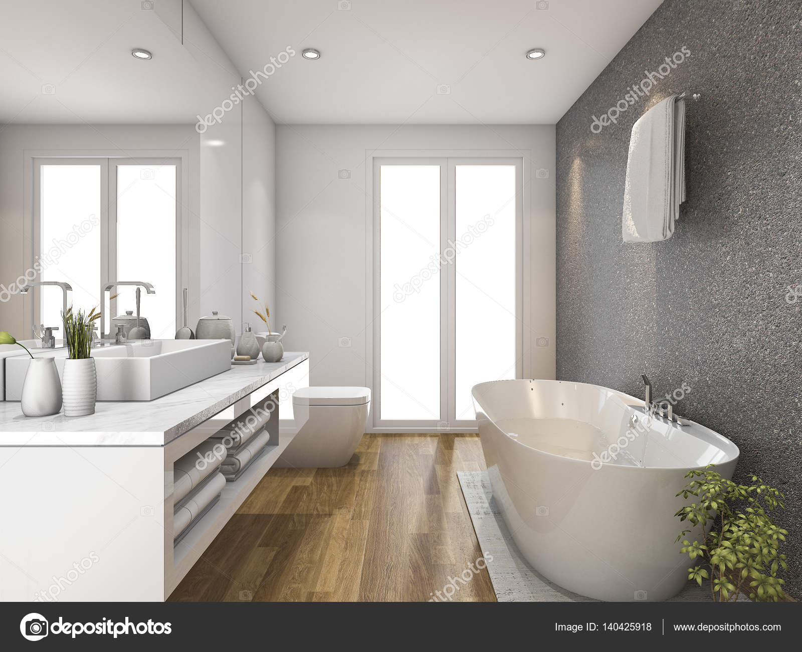 salle de bain bois de rendu 3D et avec lumière du jour de la fenêtre ...