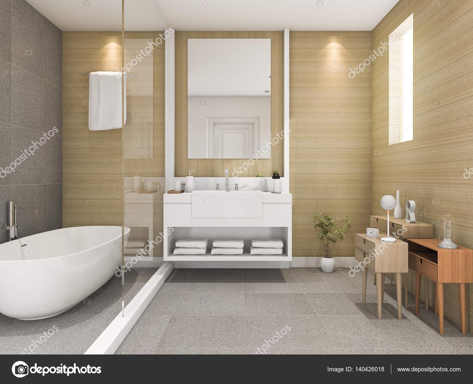 3D rendering beuken hout badkamer met licht vanuit venster ...