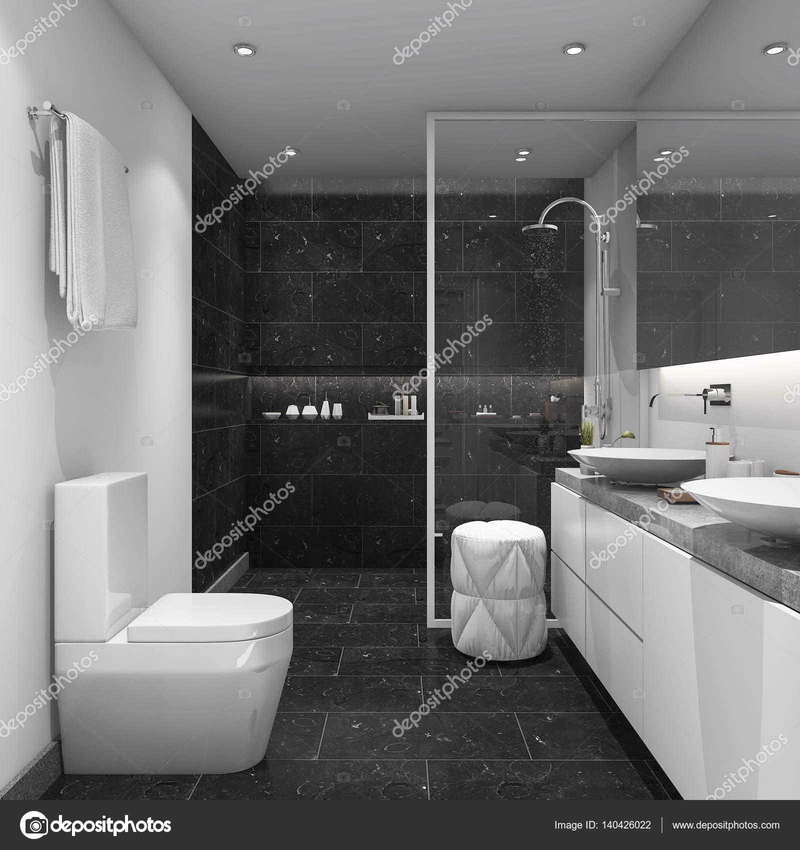 3D Rendu Sombre Carrelage Salle De Bain De Style Moderneu2013 Images De Stock  Libres De Droits