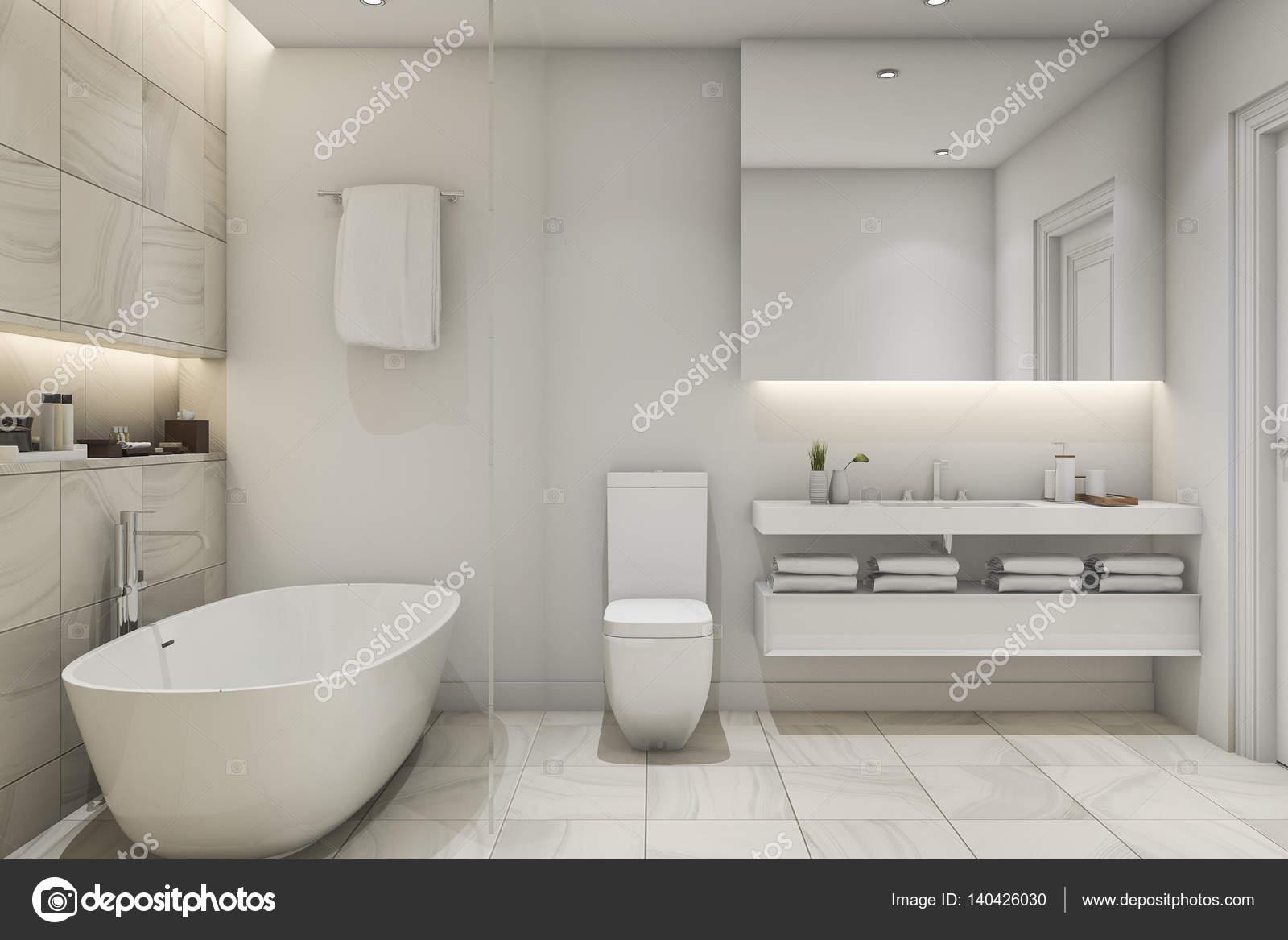 Bianco di rendering d piastrelle da bagno in marmo di lusso